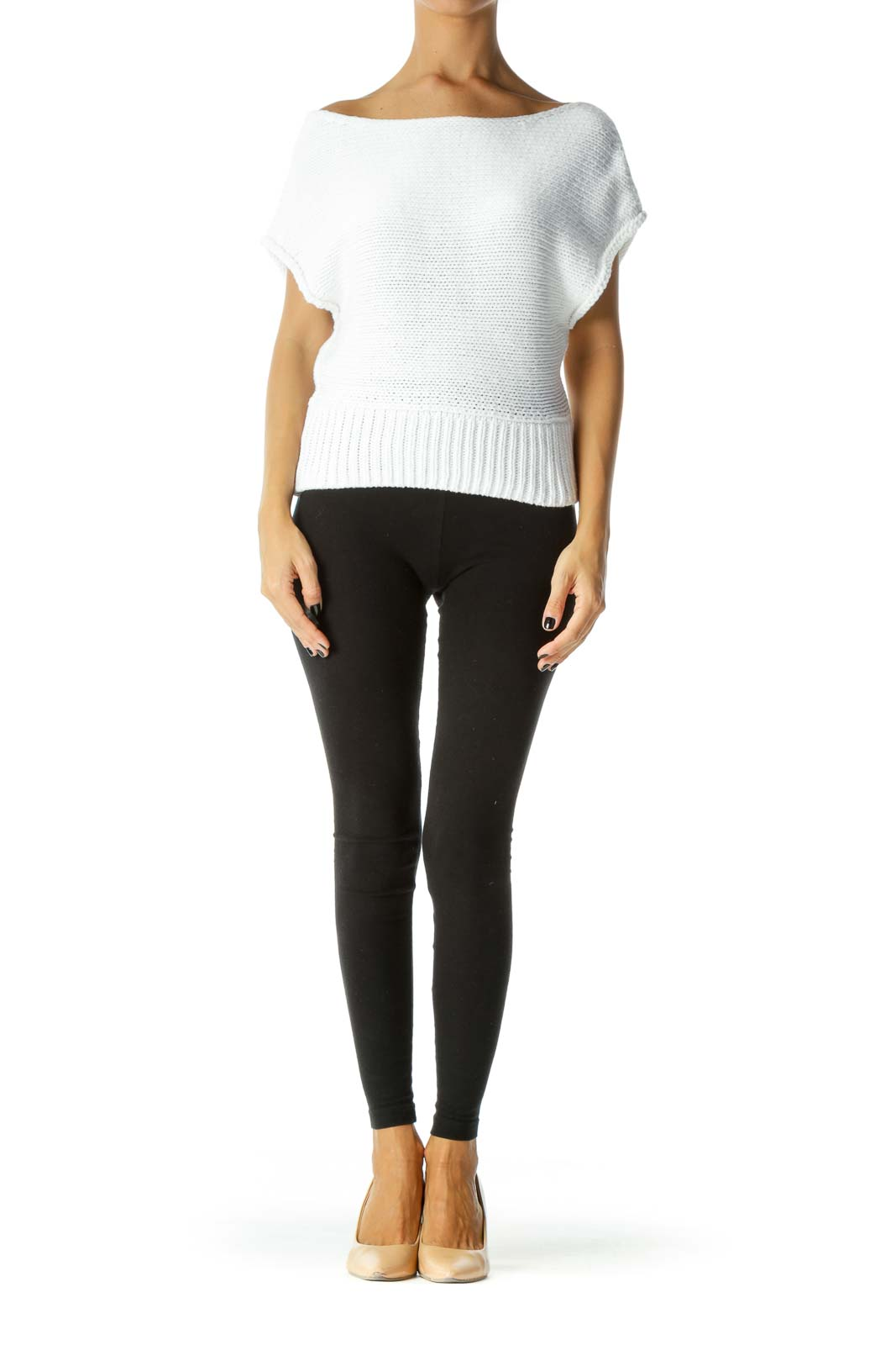 White Boat Neck Cap Sleeves Knit Top