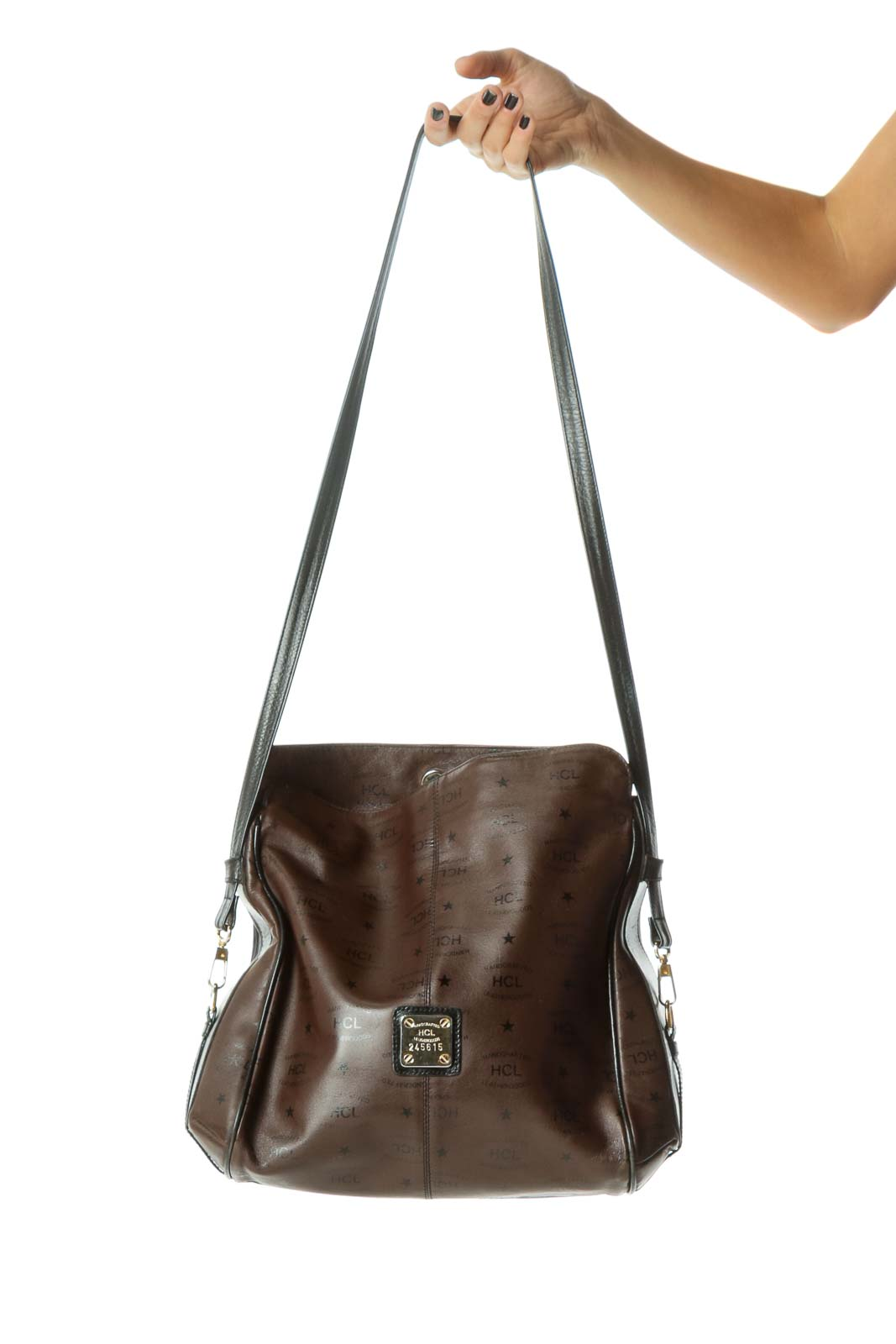 Brown Black Gold Hardware Brand Printing Leather Crossbody Bag