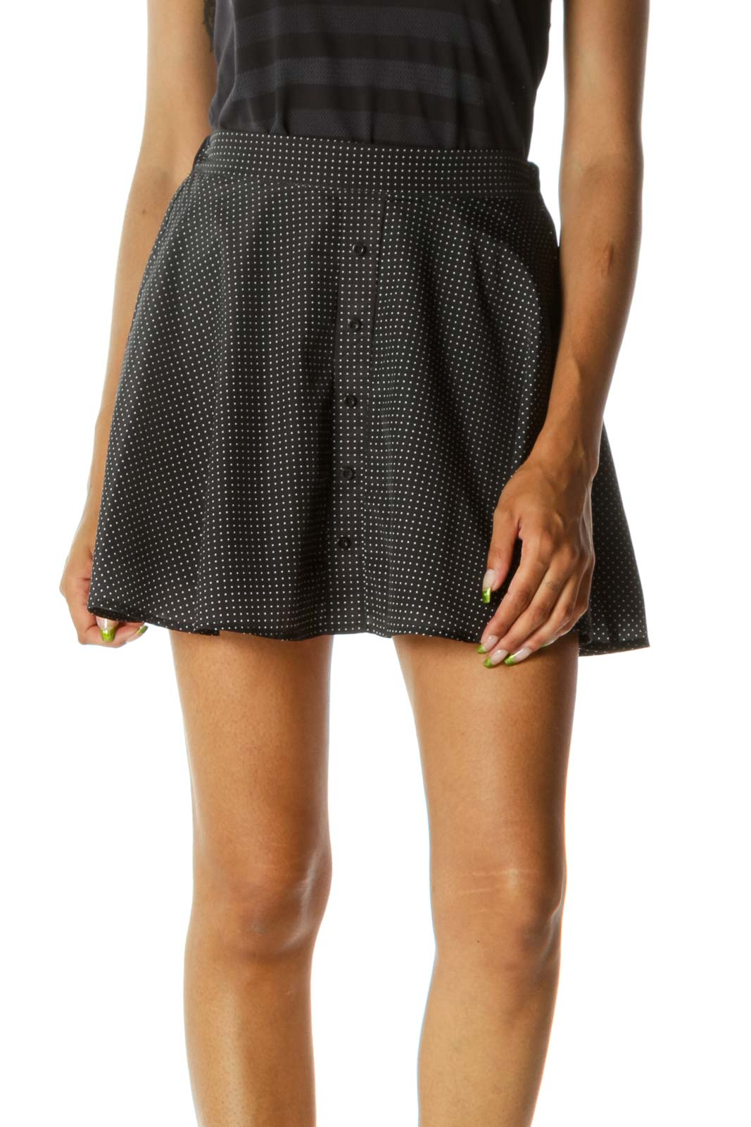 Black White Polka Dots Buttoned Pull-On Lightweight Flared Skirt