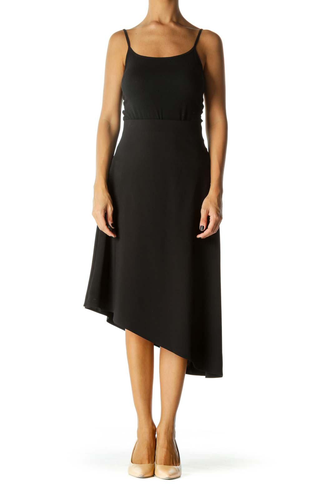 Black Shiny Asymmetric Midi Skirt