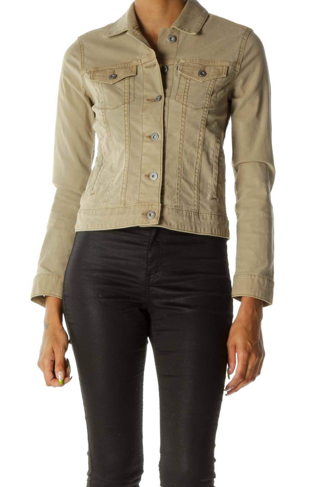 Beige Breast Pockets Buttoned Long Sleeve Jacket