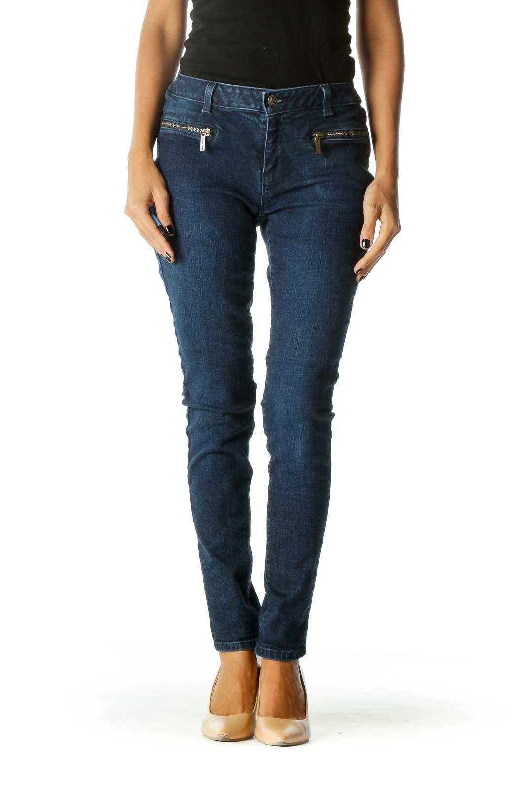 Blue Dark Wash Zipper Details Skinny Denim Jeans