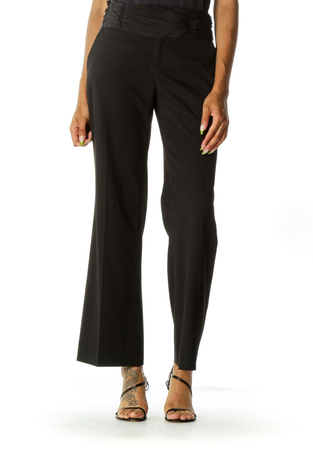 Black Detail Waistband Wide-Leg Pants