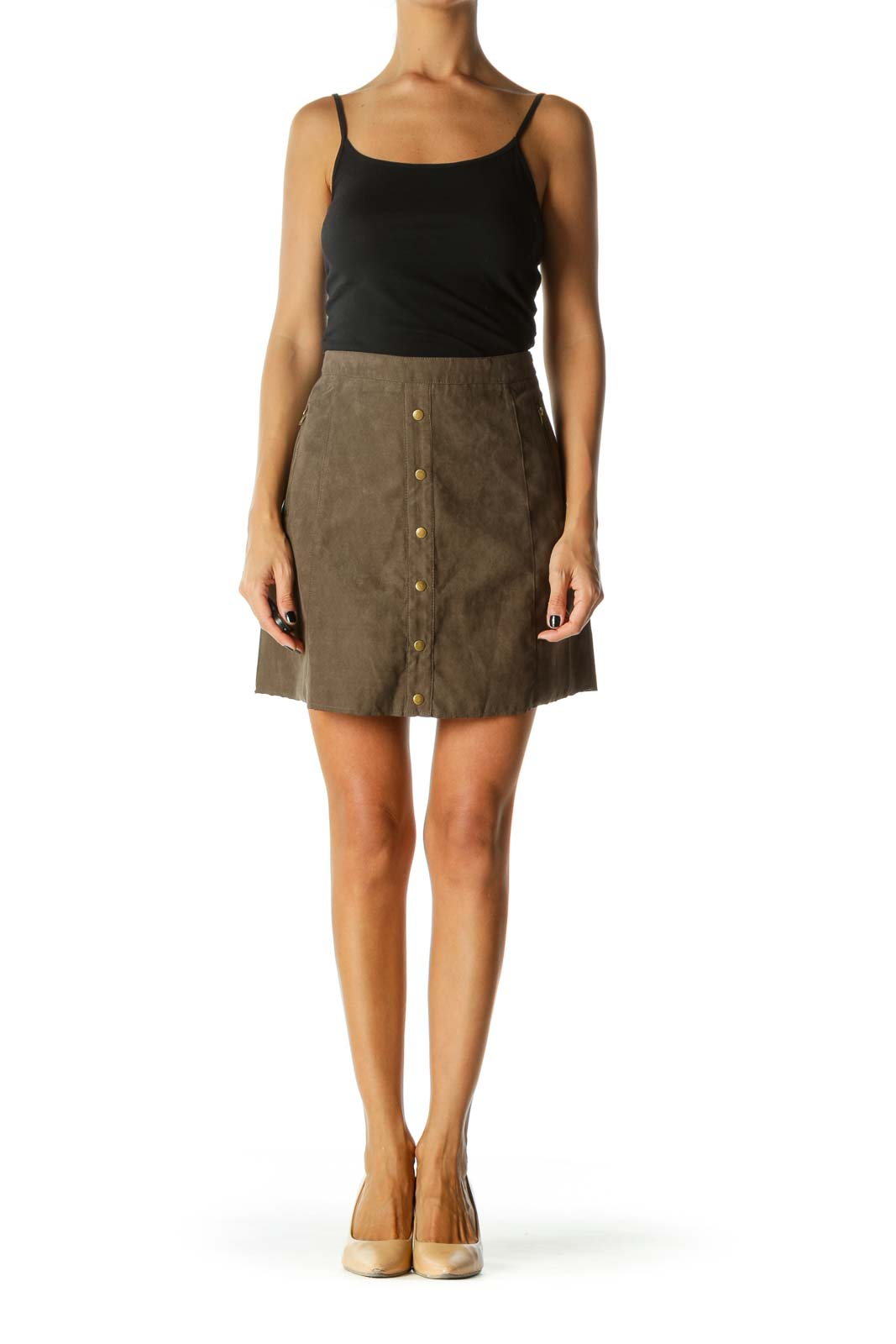 Brown Suede Button Mini Skirt