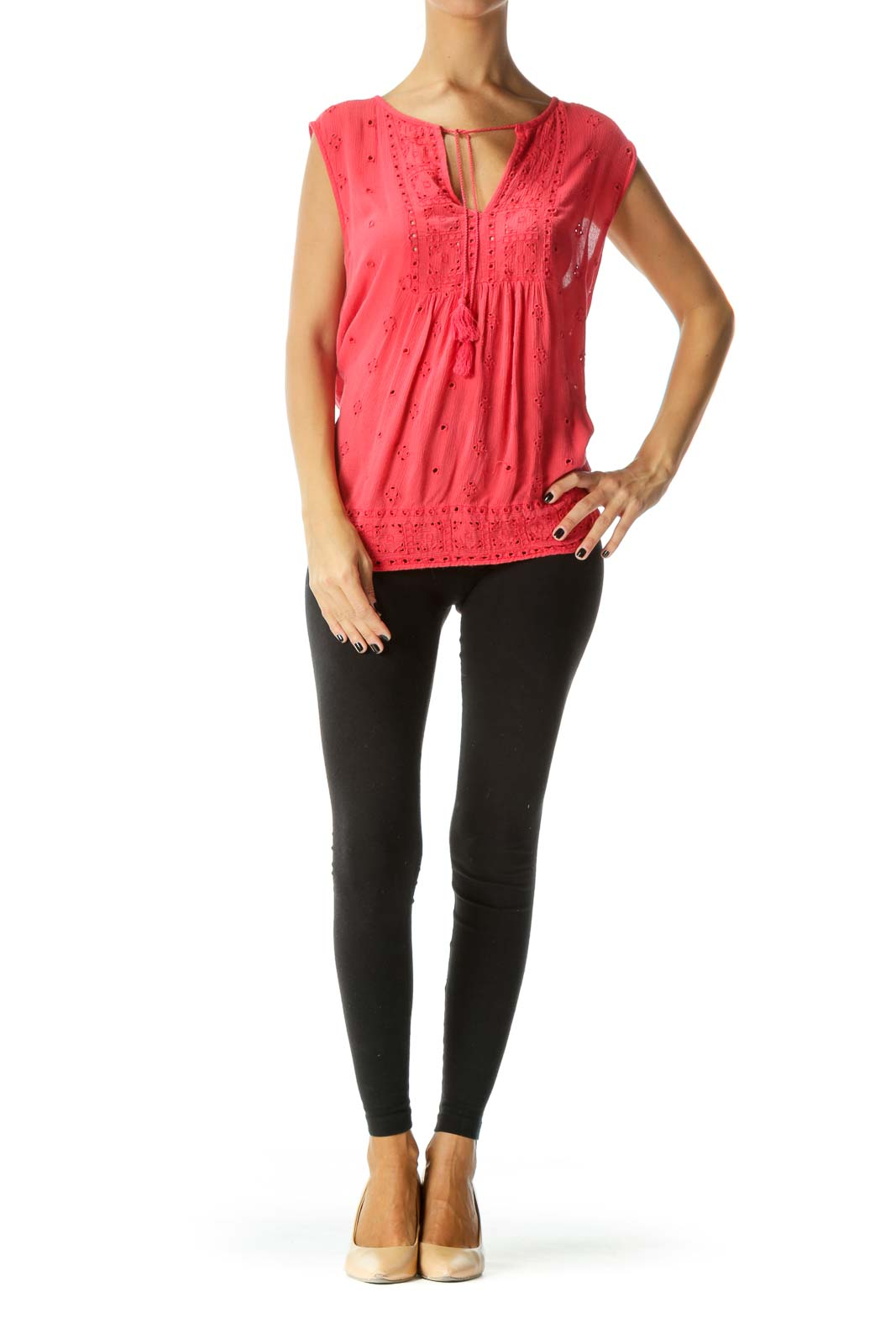 Coral Pink V-Neck Eyelet Knit Flared Tank Top