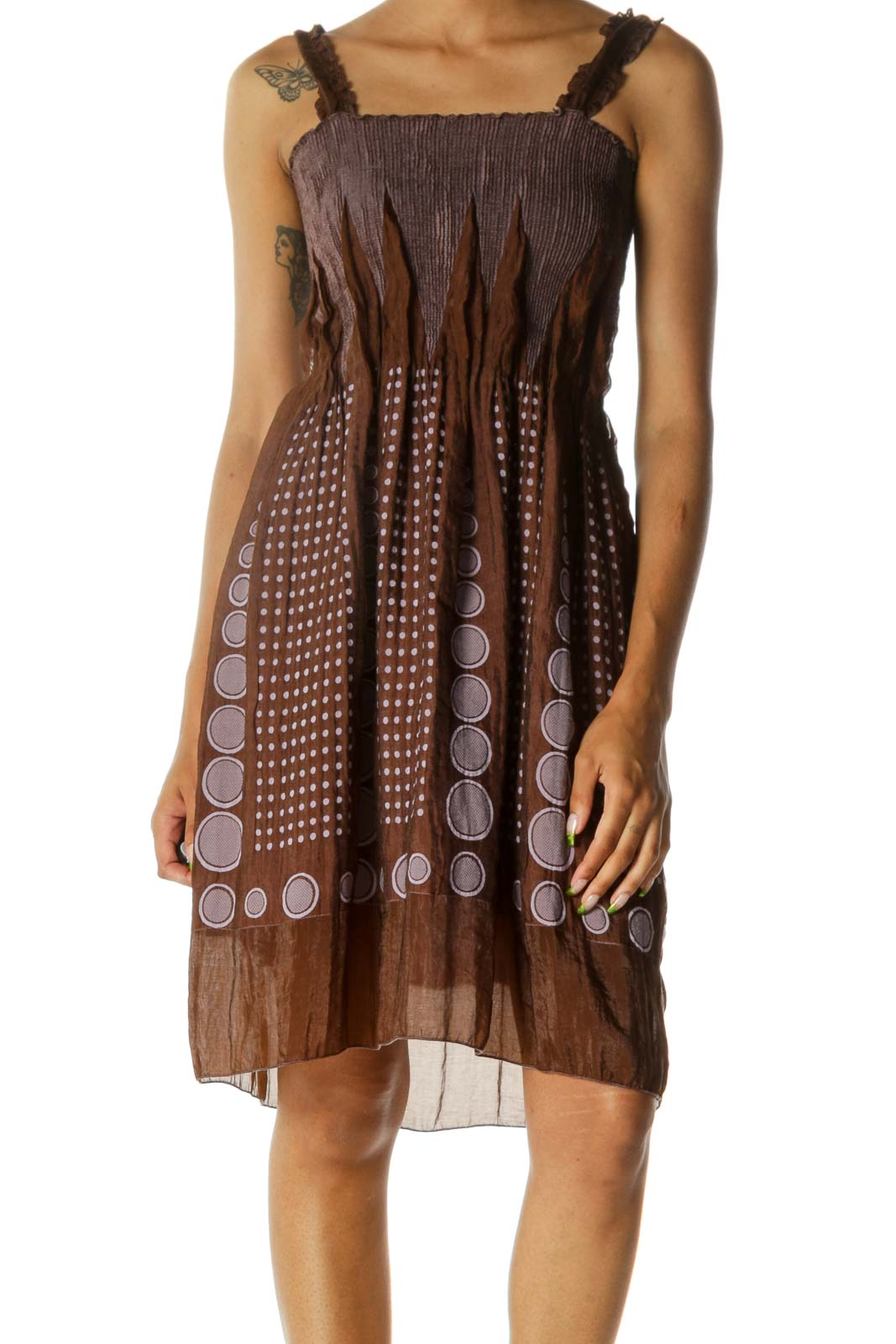 Brown Light Purple Textured Print Shirring Flared Dress