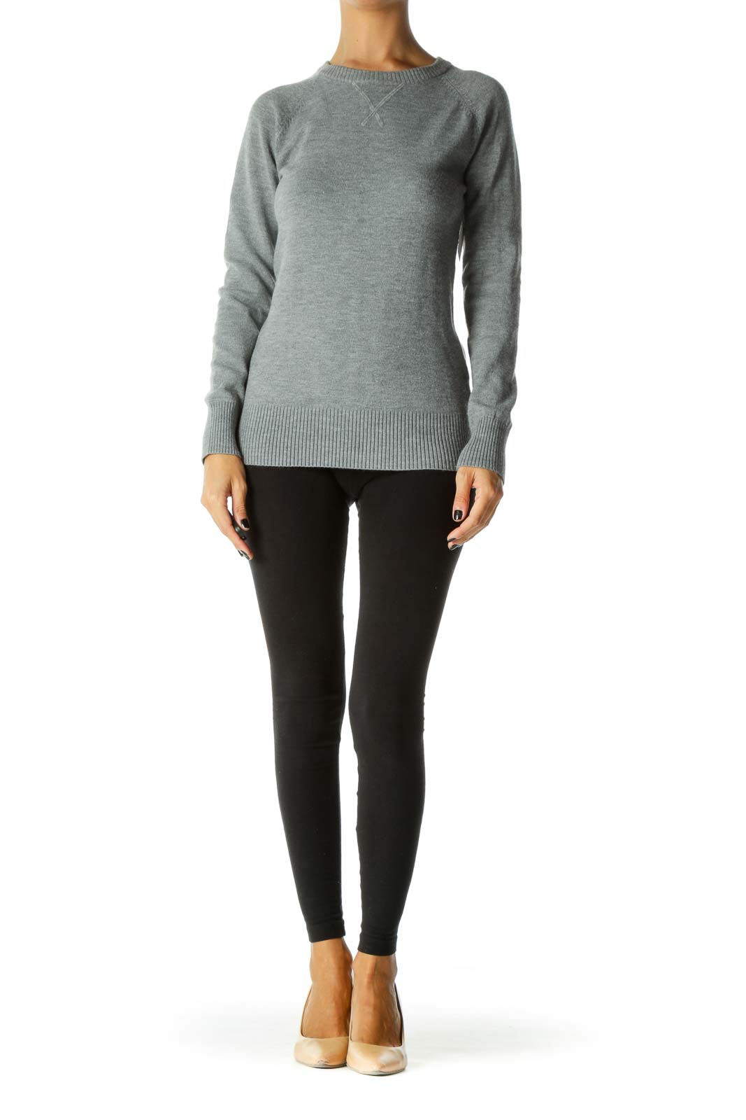 Gray Round Neck Long Sleeve Sweater