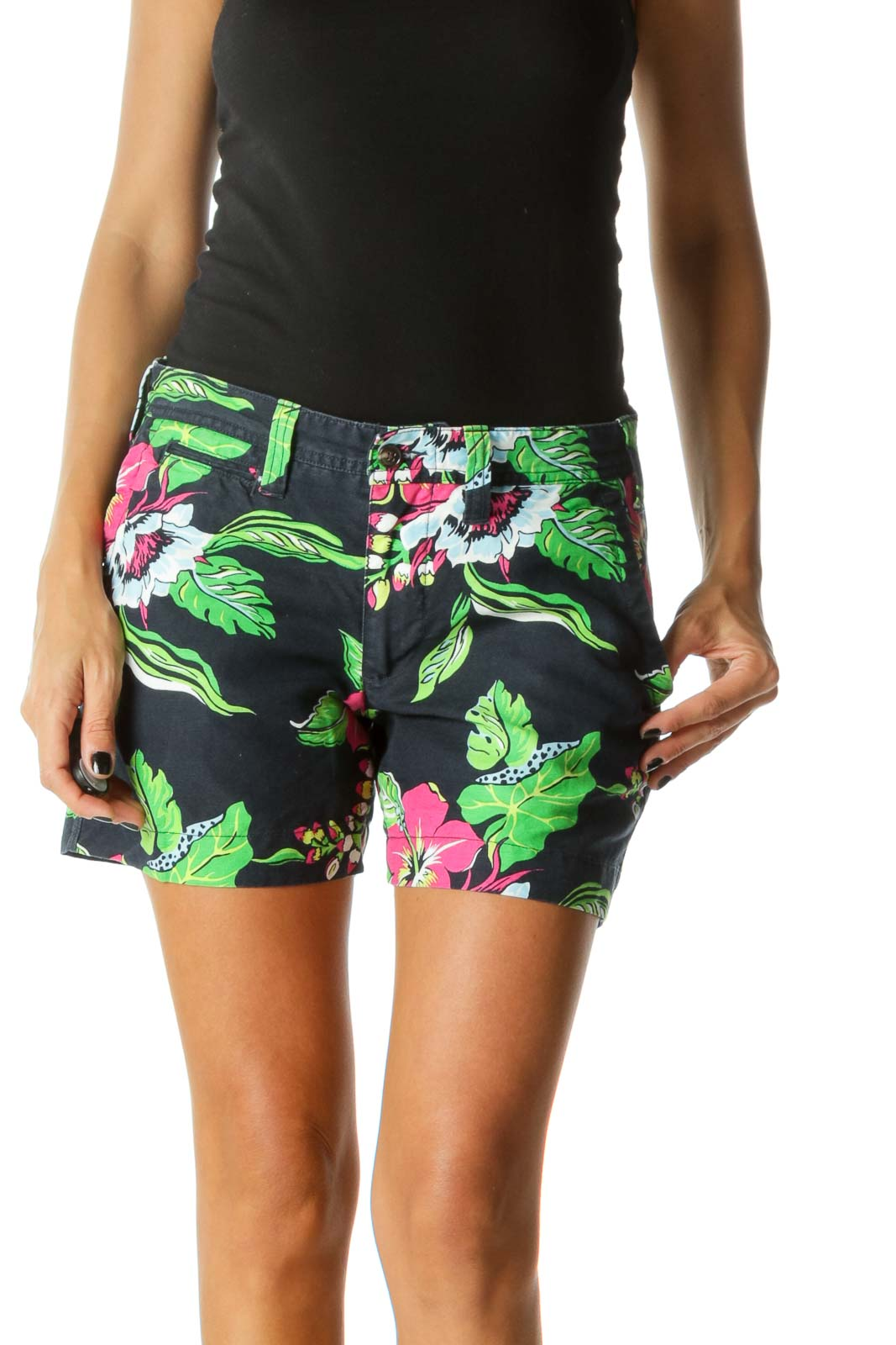 Blue Pink Green Linen Cotton Blend Floral Print Shorts