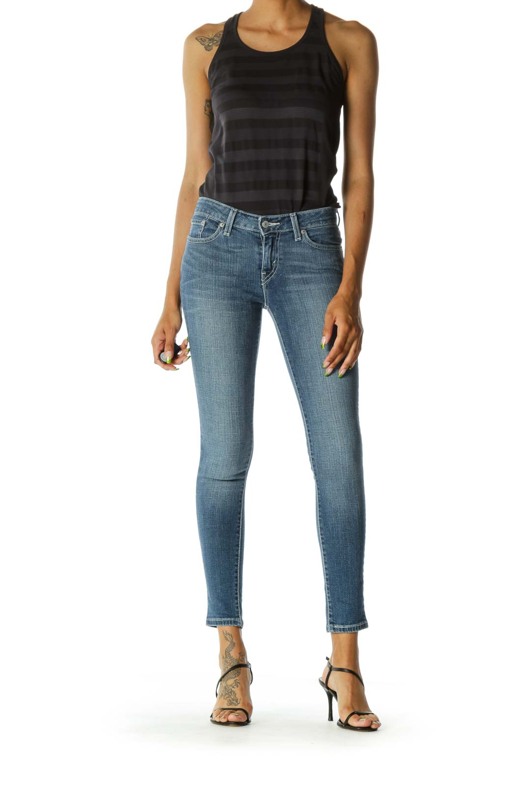 Blue Medium Wash Stitching Skinny Denim Jeans