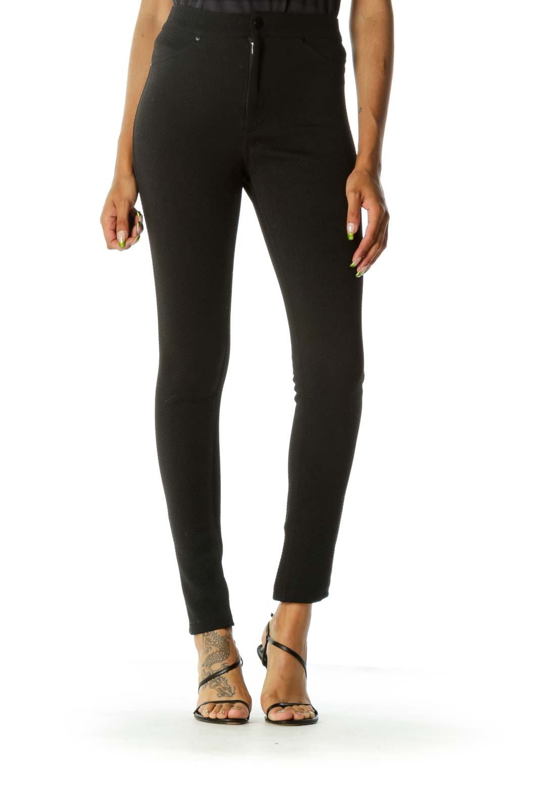 Black Textured Faux-Pockets Stretch Pants