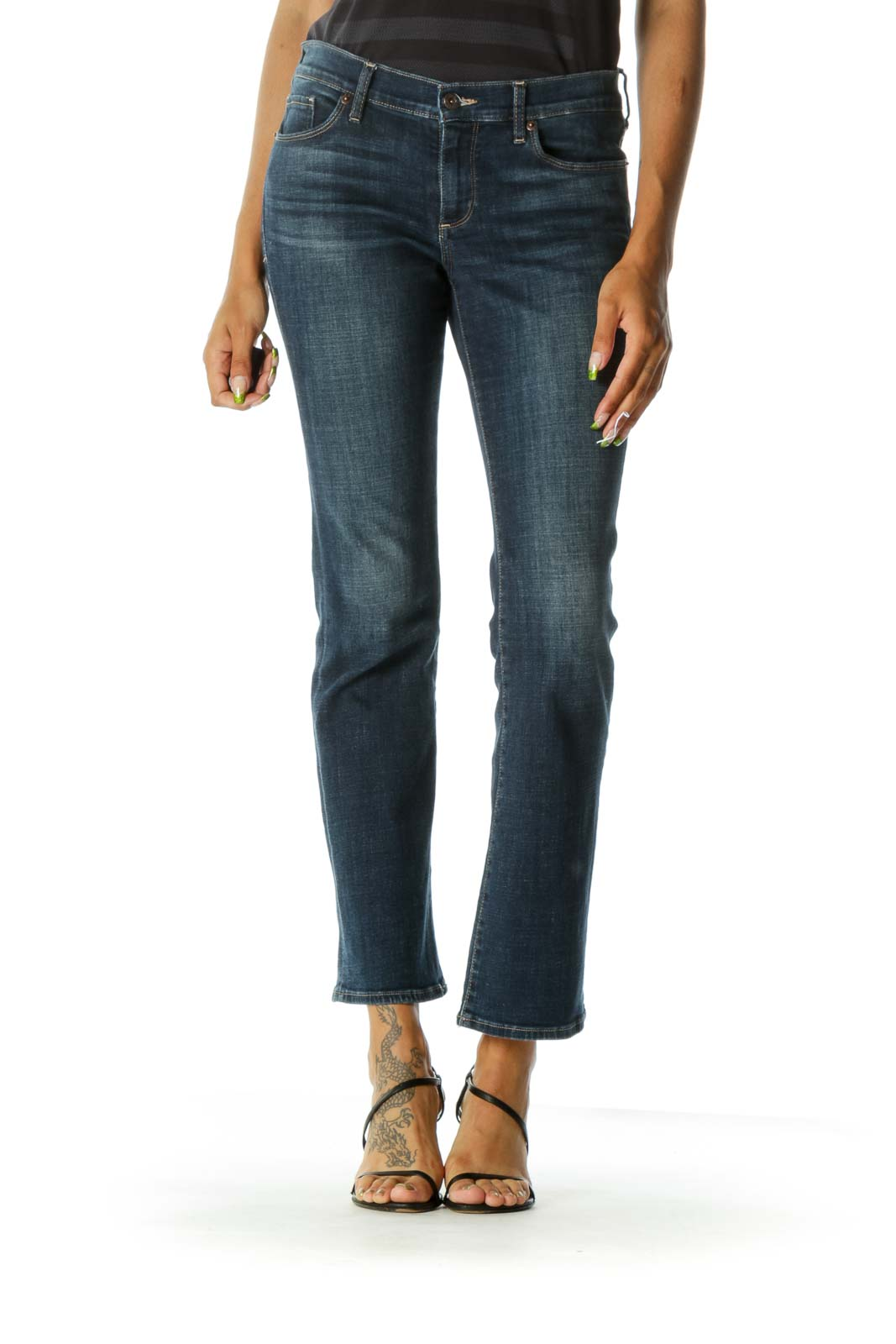 Blue Medium Wash Straight-Leg Jeans