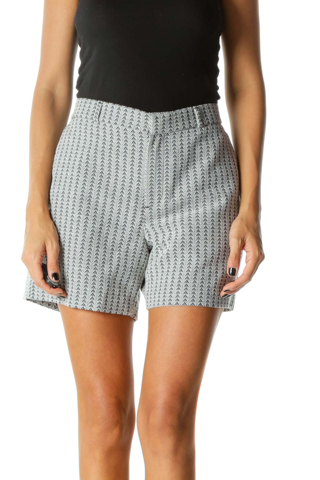 Black White Embroidered Pattern Shorts