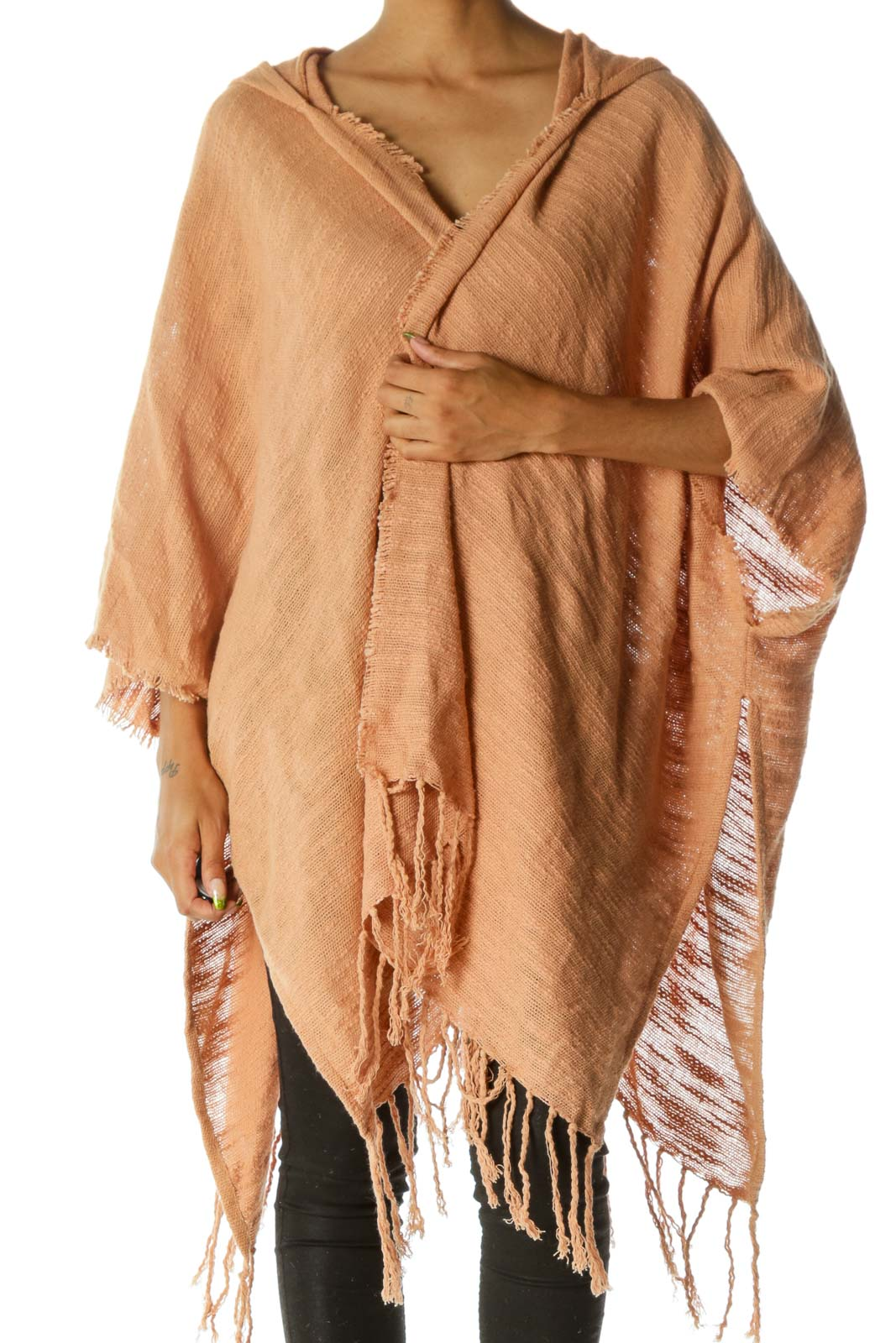 Beige Raw Hem Fringed Hooded Knit Poncho