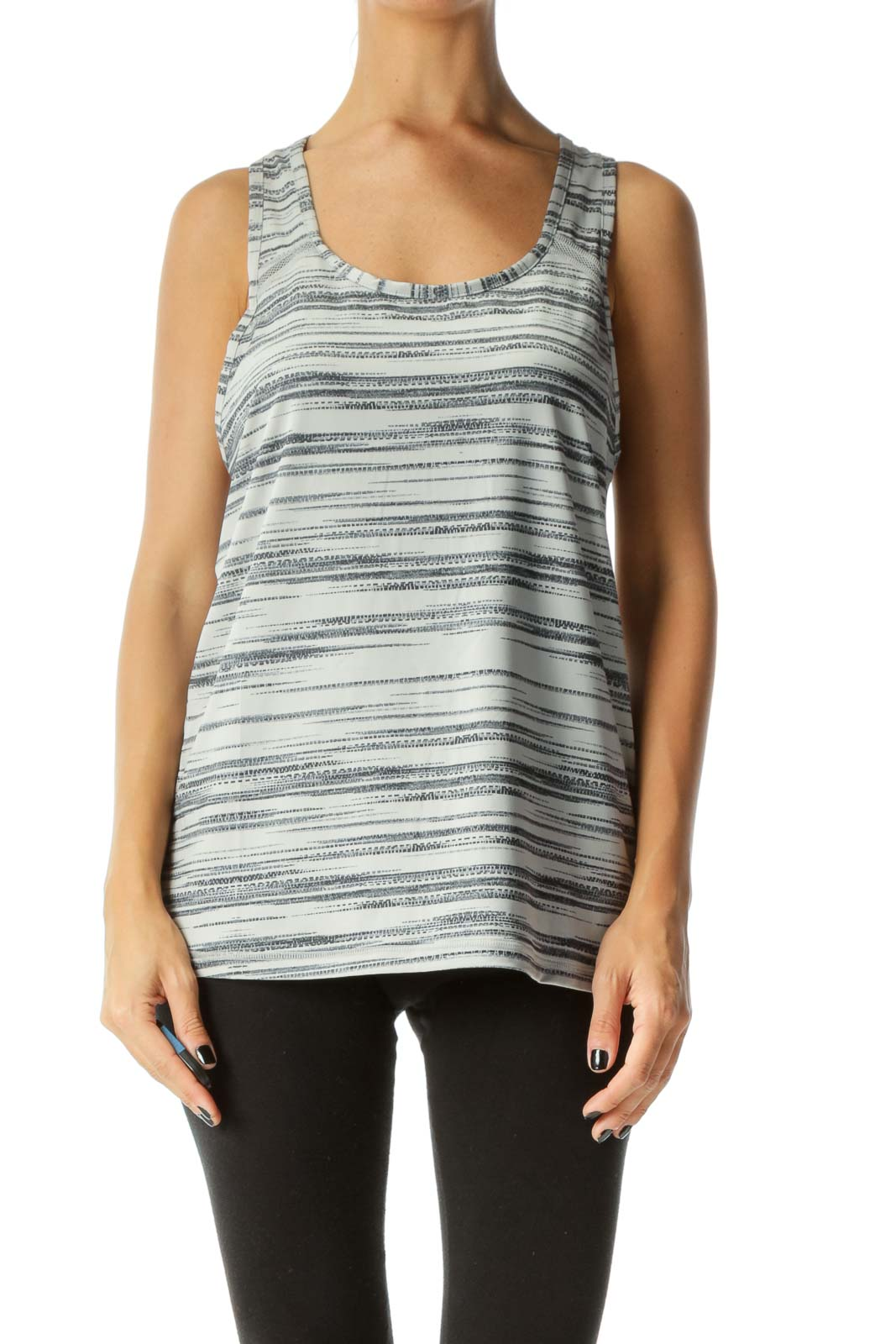 Gray Abstract-Stripe Patterned Racer-Back Net-Detail Yoga Tank