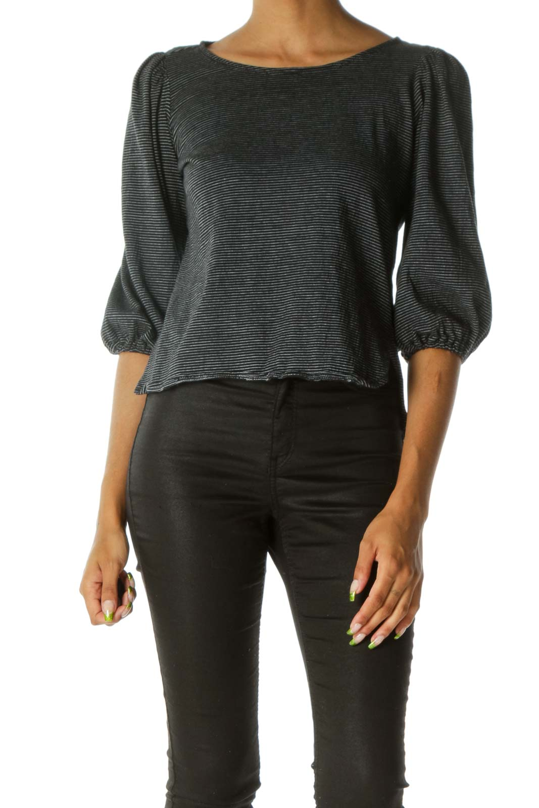 Black & White Striped Peasant-Sleeve Knit Blouse