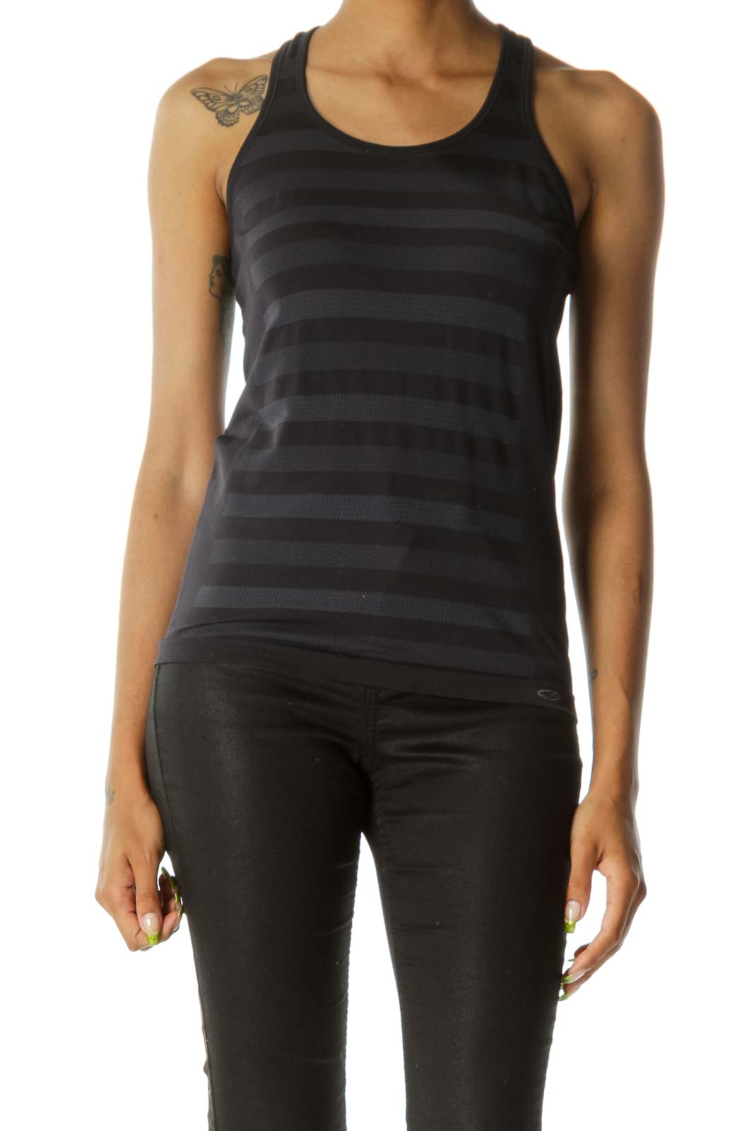 Black & Gray Thick-Striped Racer-Back Yoga Tank