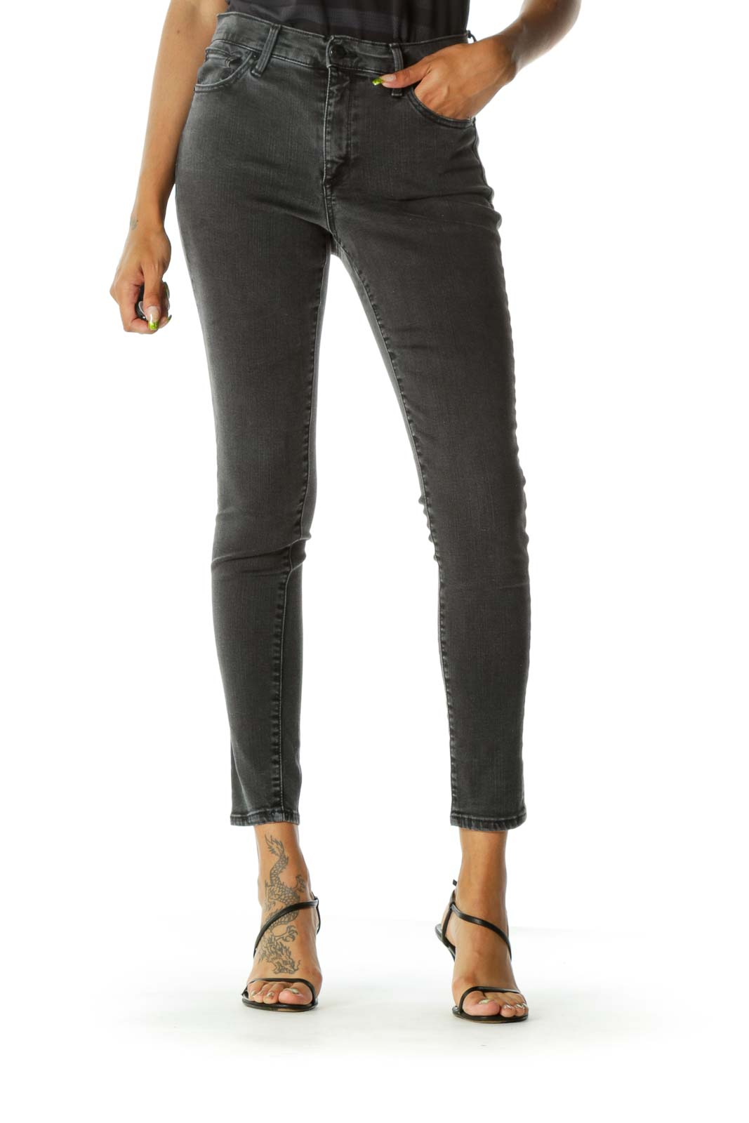 Gray Faded Wash Pocketed Skinny Stretch Pants