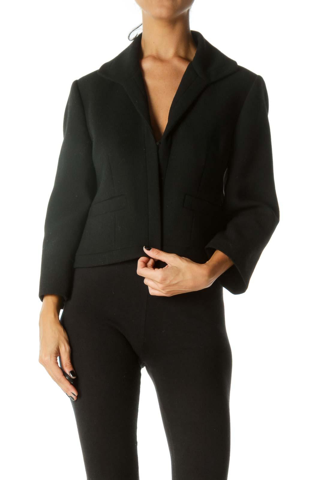 Black Textured Hook Closure Faux-Pockets Padded Shoulders Blazer
