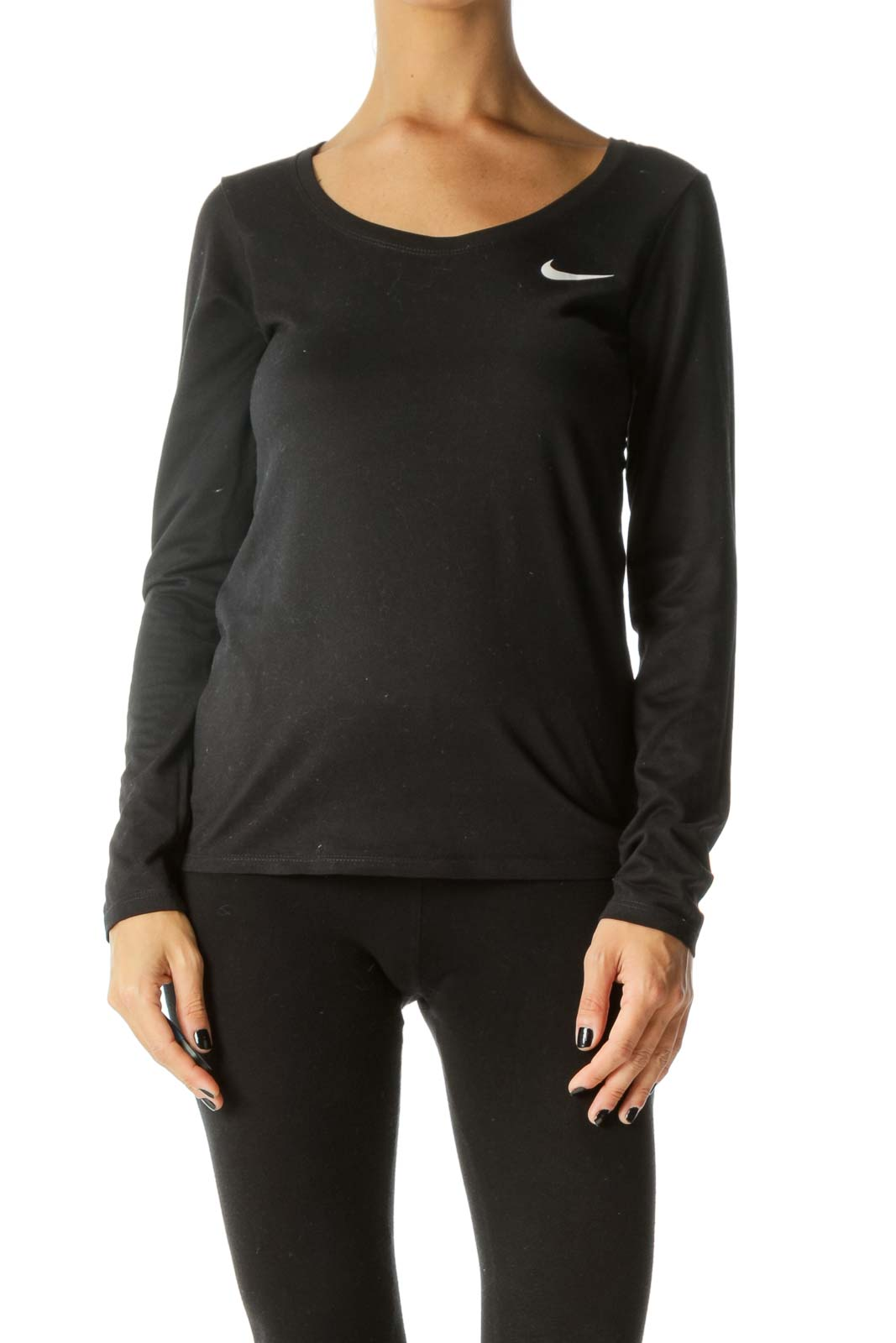Black Long-Sleeve Logo Work-Out Top