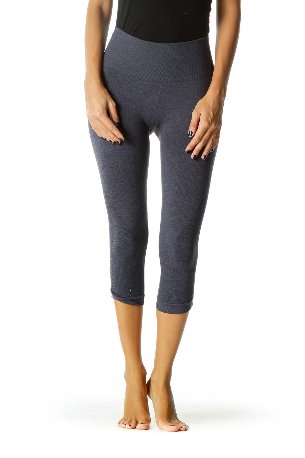 Gray Gathered Leg Detail Stretch Active Cropped Pants