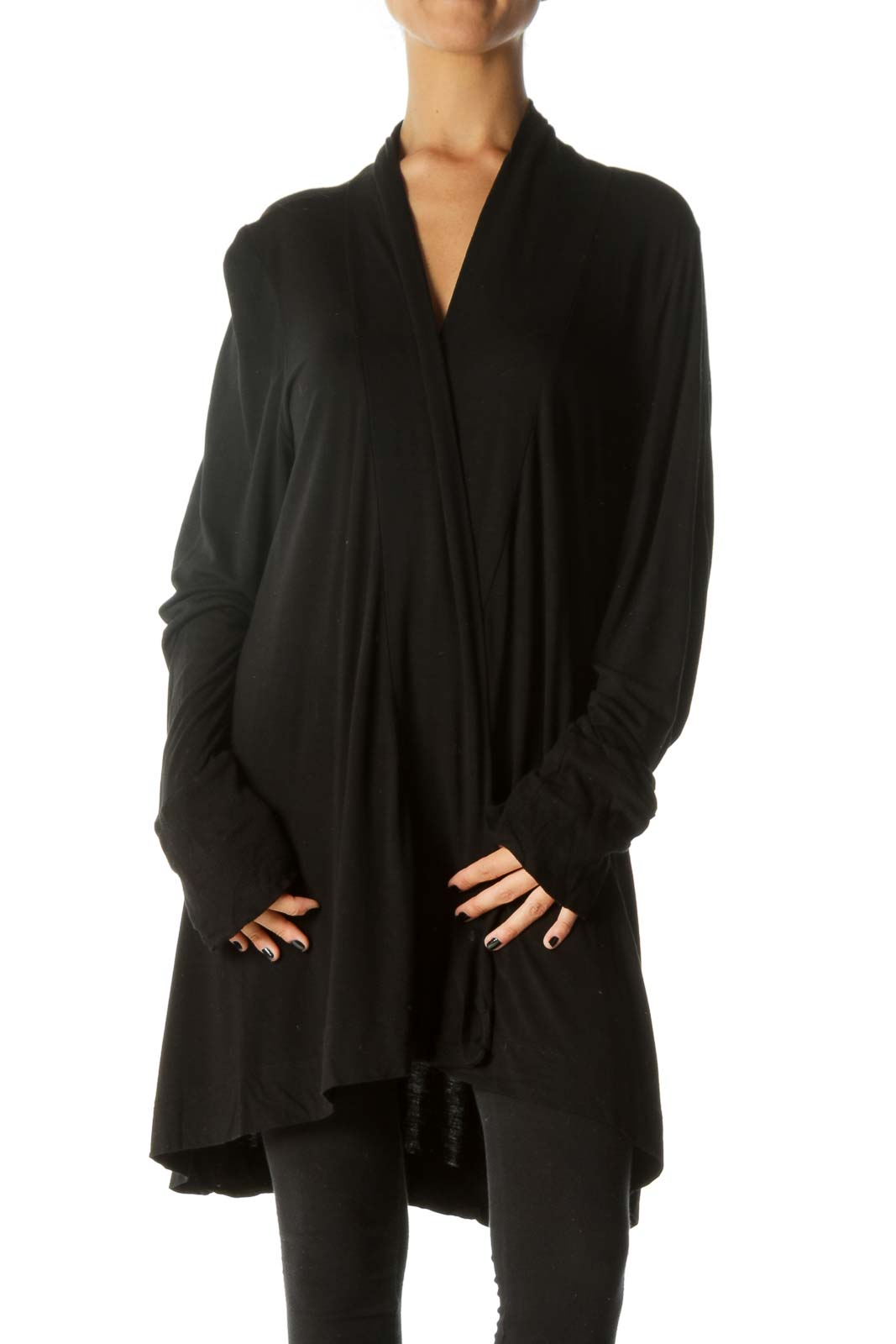 Black Long Sleeve Mixed Media Stretch Cardigan
