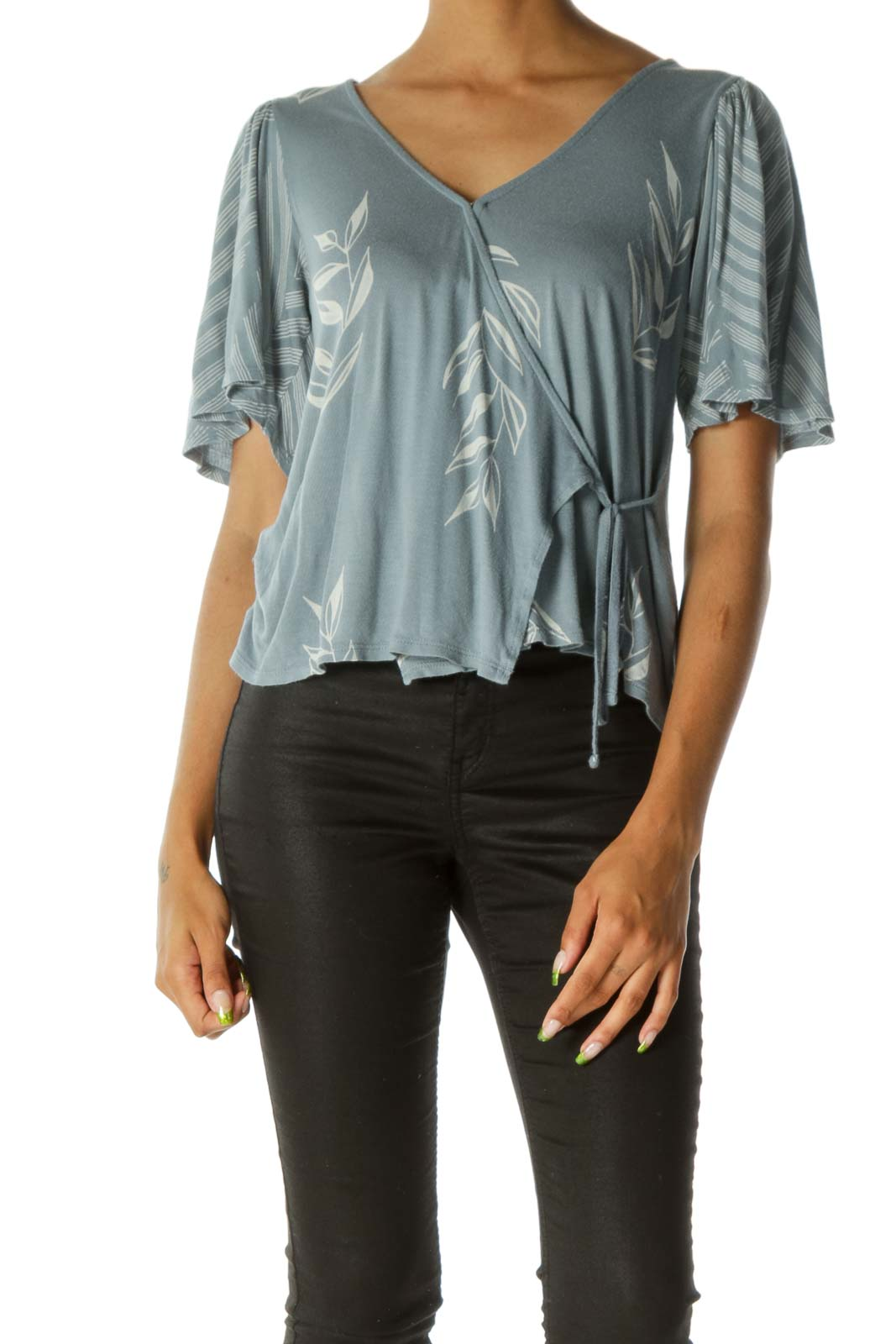 Blue & White Floral Print Wrap-Tie V-Neck Blouse