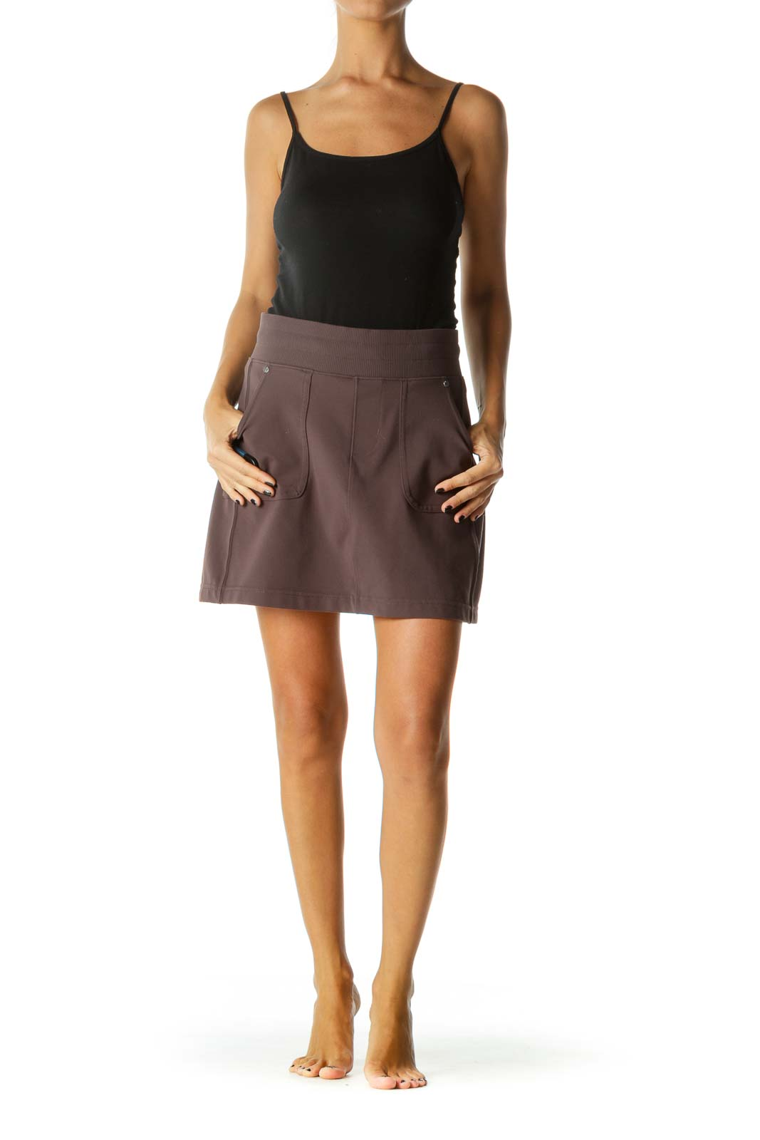 Gray Pocketed Stretch Active Skirt with Inside Stretch Shorts