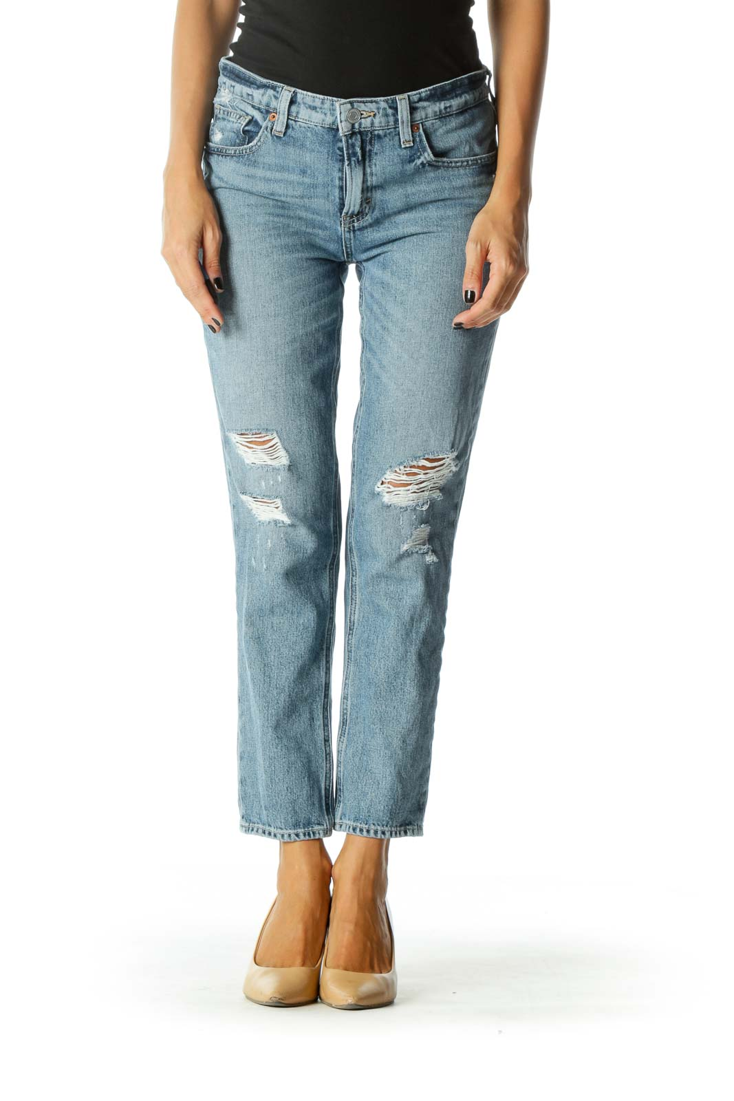 Blue Light Wash Distressed Skinny Denim Jeans