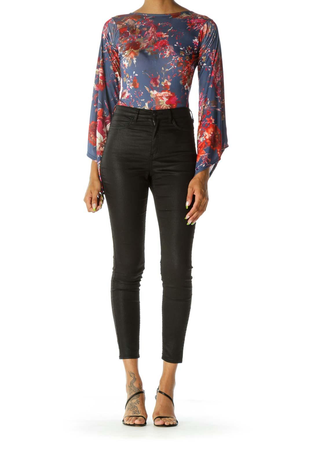 Blue Red & Gold Floral-Print Open-Back Bell-Sleeve Bodysuit