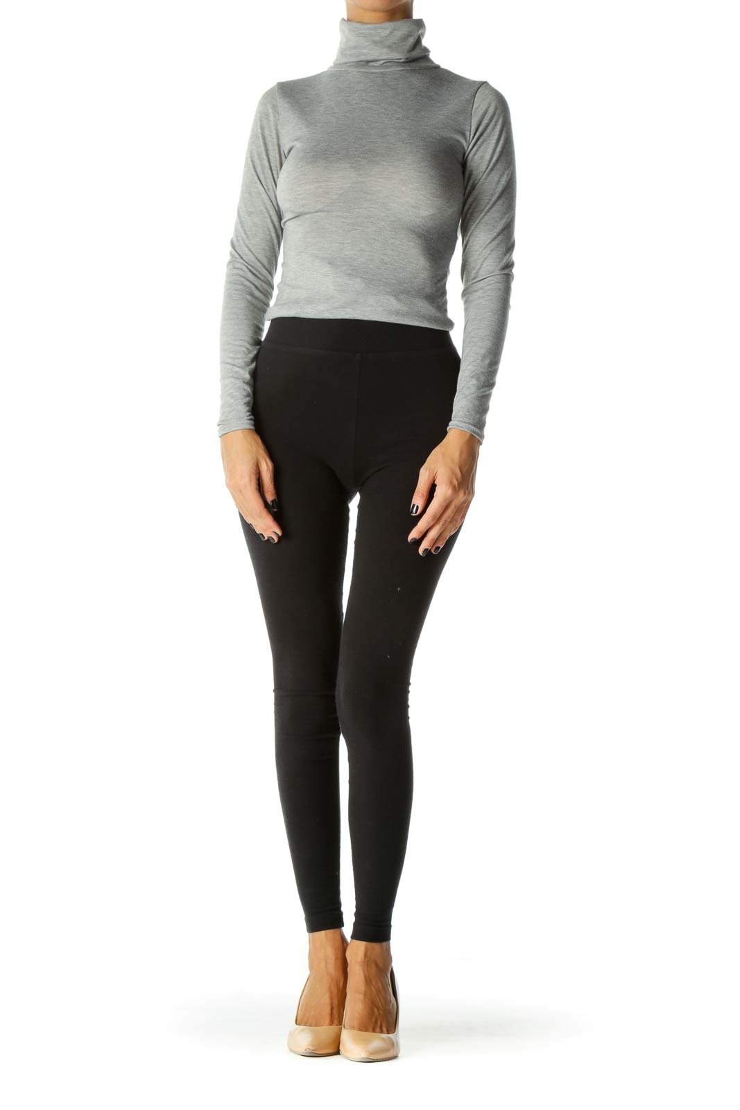 Gray Turtle-Neck Long-Sleeve Bodysuit