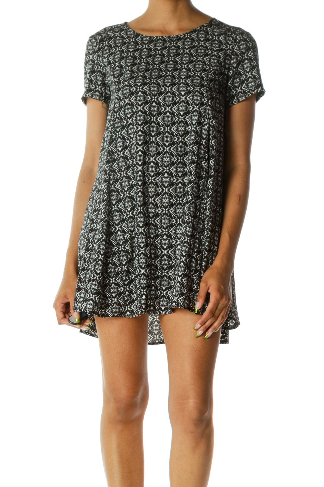 Black White Print Round Neck Short Sleeve Flared Dress