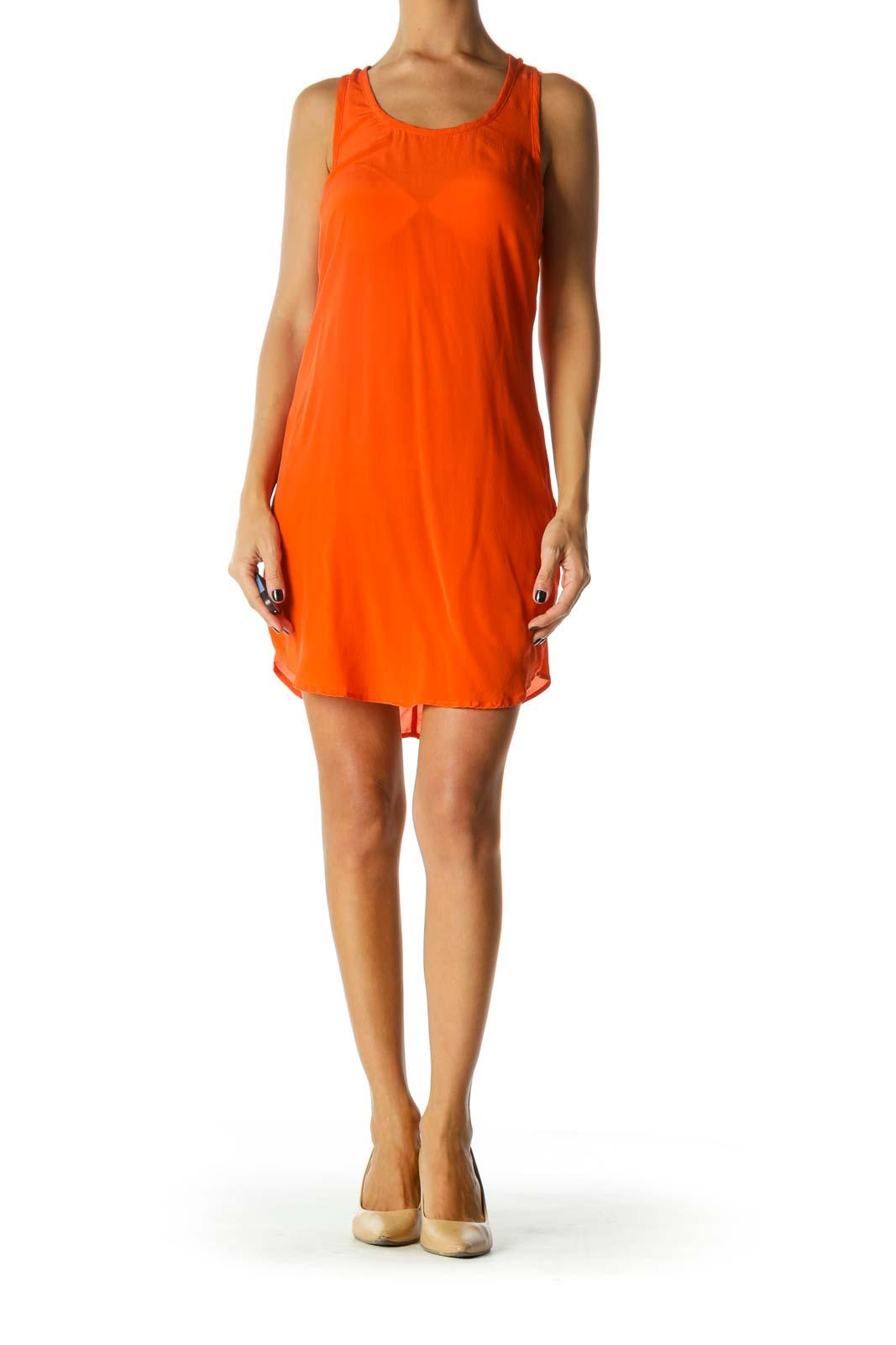 Orange Round Neck Racerback 100% Silk Dress