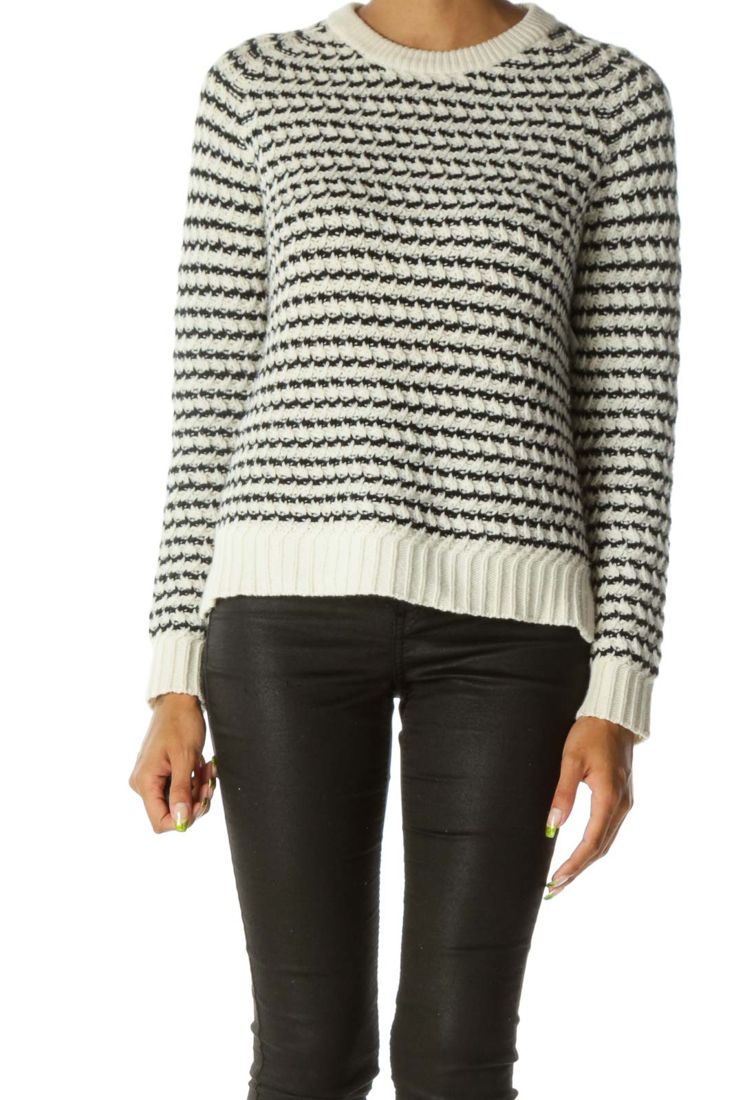 Cream & Black Striped 100% Wool Knit Sweater