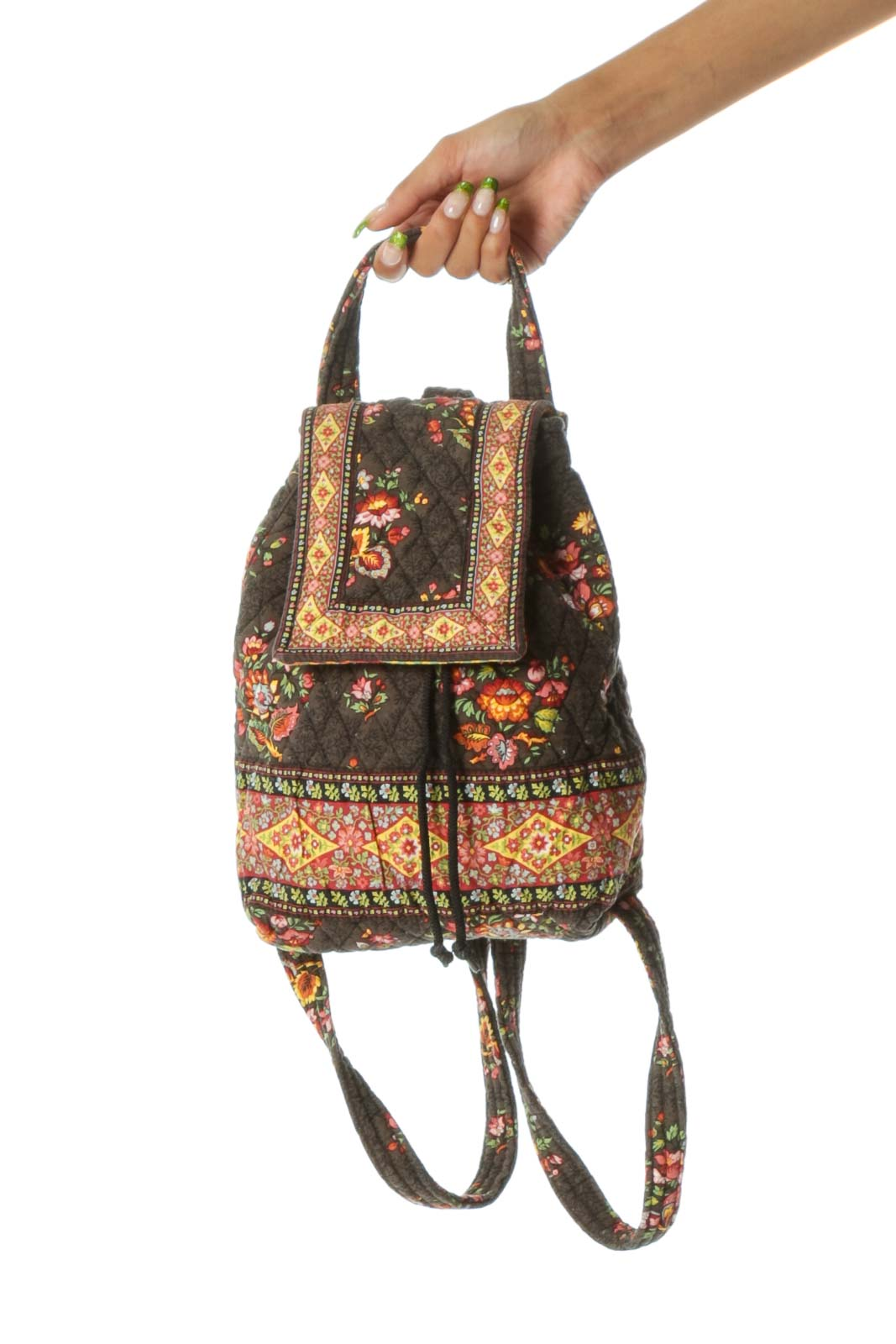 Brown Black Red Yellow Floral Print Quilted Backpack