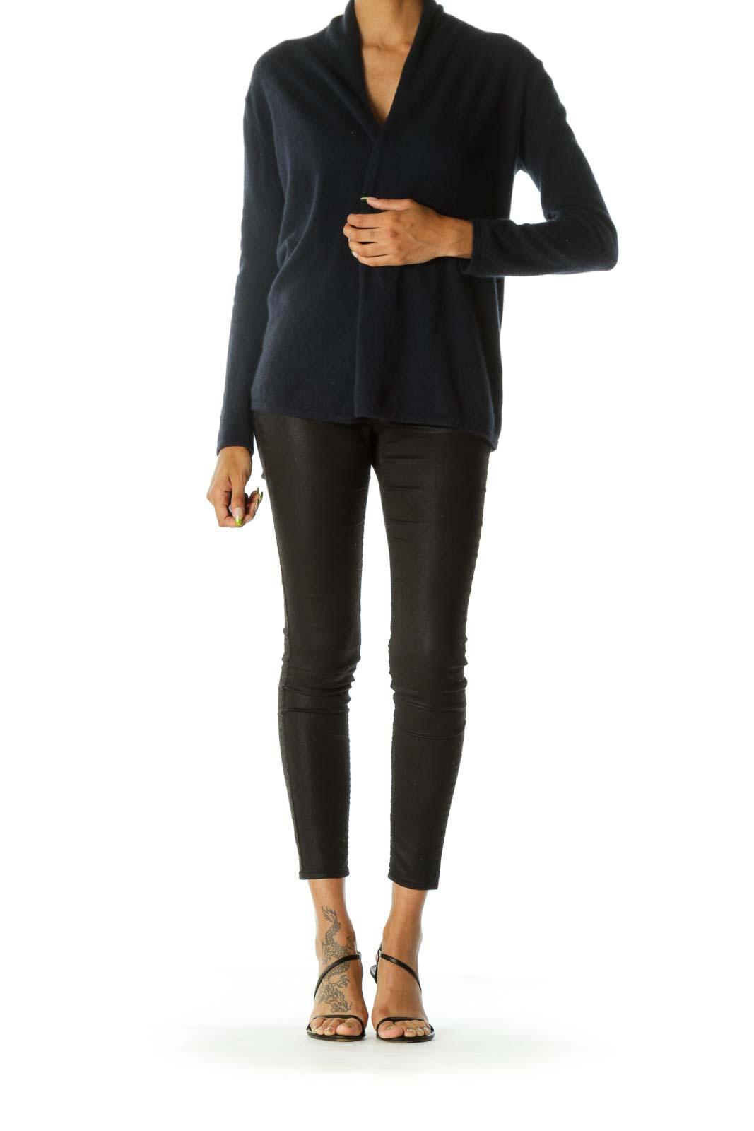 Navy Blue 100% Cashmere Open Knit Soft Cardigan