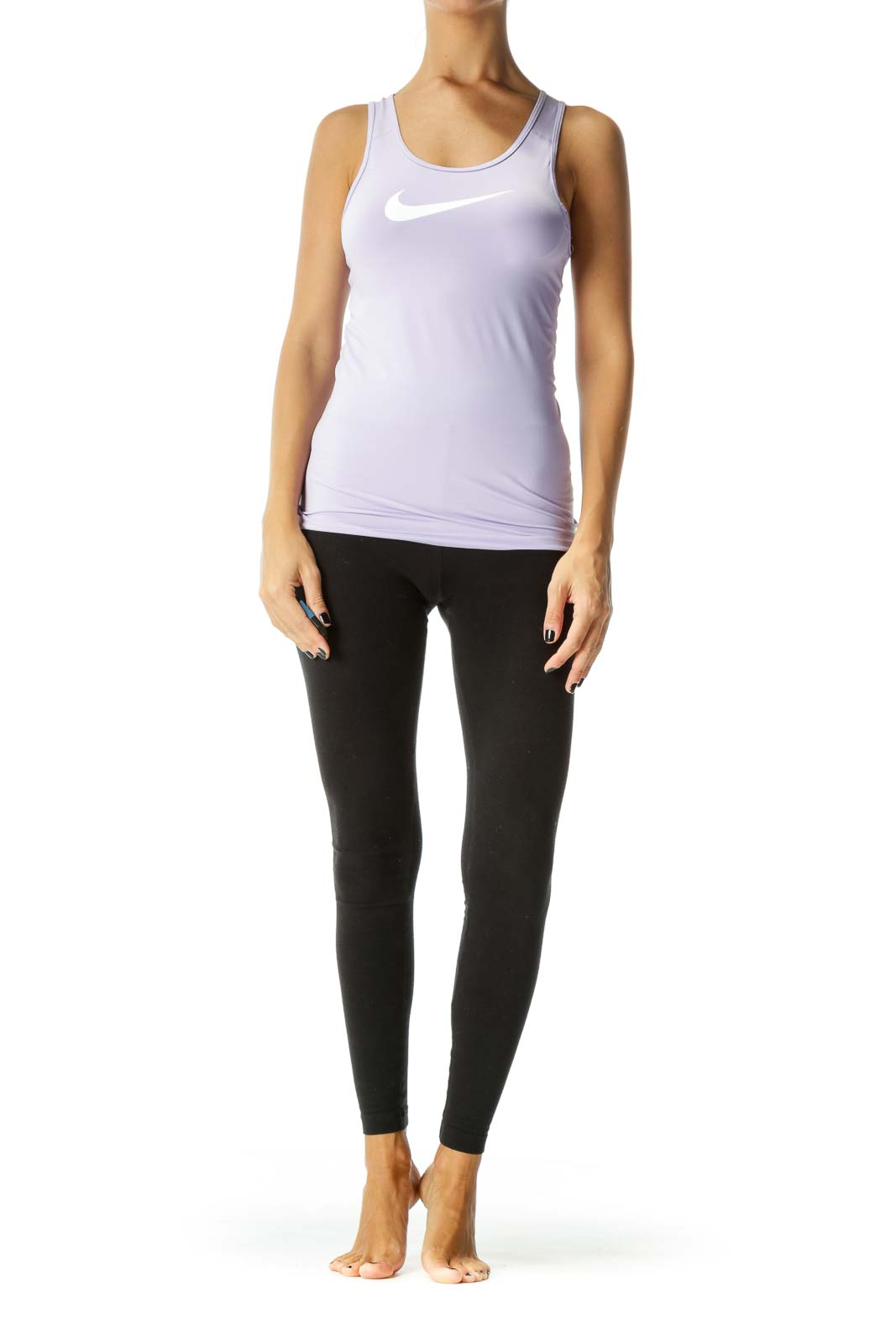Lilac Purple Work-Out Tank with White Swoosh Logo