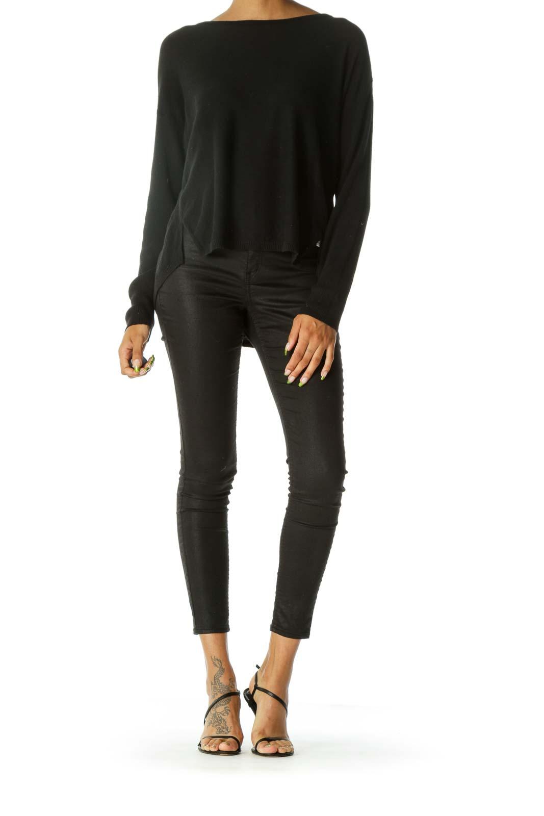 Black Hi-Lo Thermal-Sleeve Sweater