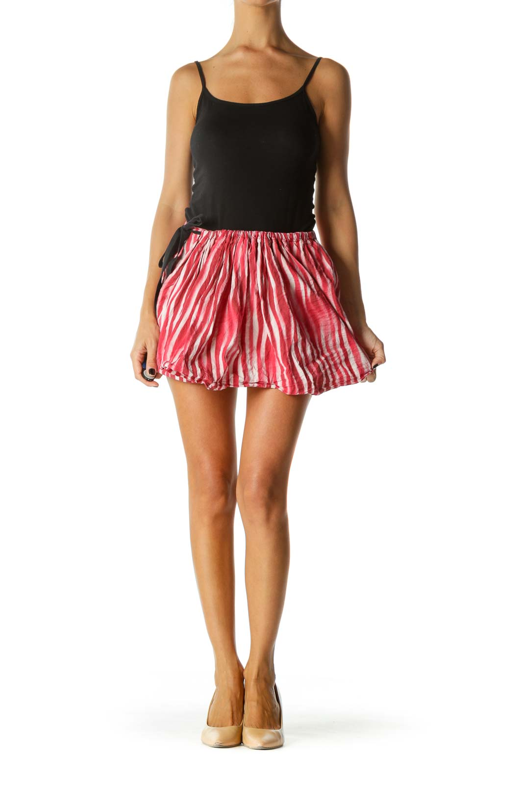 Red White Dyed Striped Cotton Shorts with Over Skirt