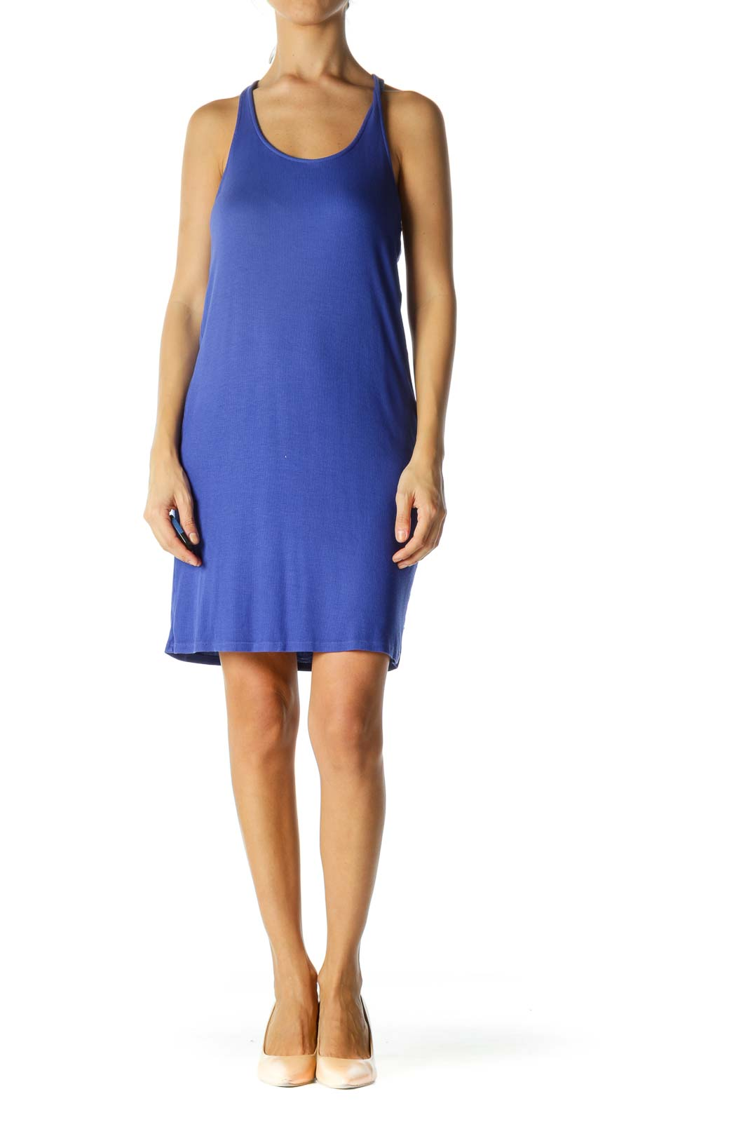 Blue Ribbed Racerback Day Dress