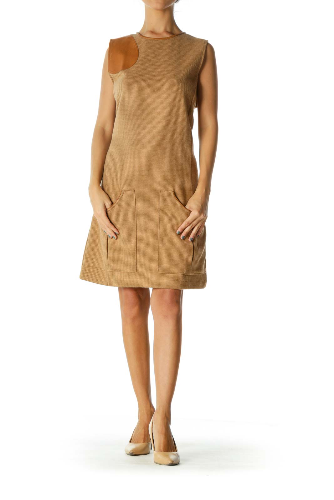 Beige Textured Sleeveless Pocketed Work Dress