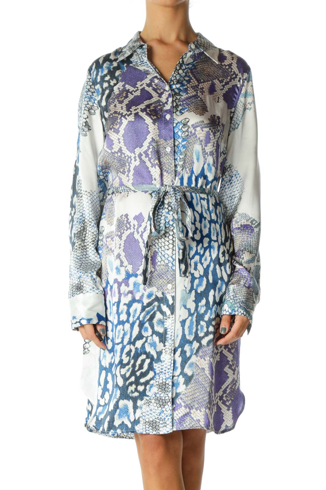 Blue White & Green Snake Print 100% Silk Long-Sleeve Button-Down Waist-Tie Dress