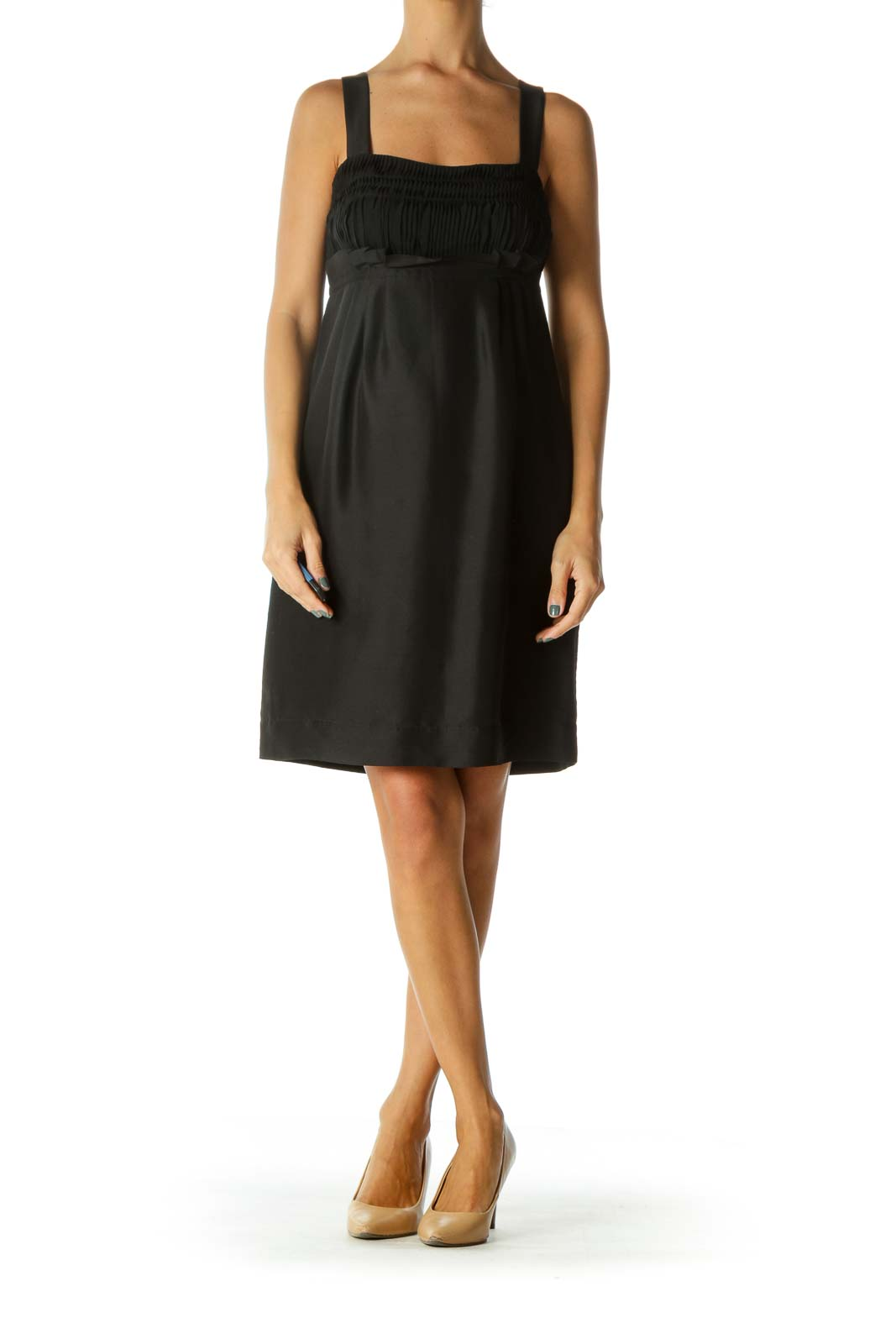 Black 100% Silk Pleated A-Line Sleeveless Cocktail Dress