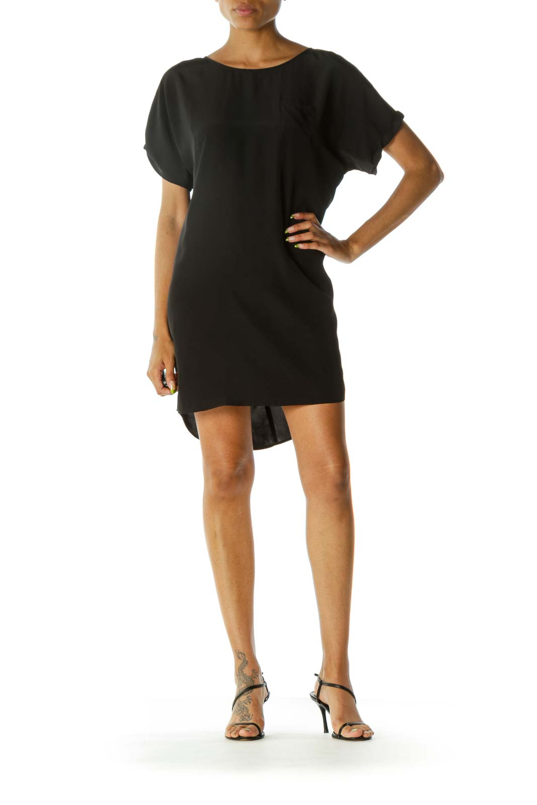 Black Round Neck Short Sleeve Pocket Day Dress
