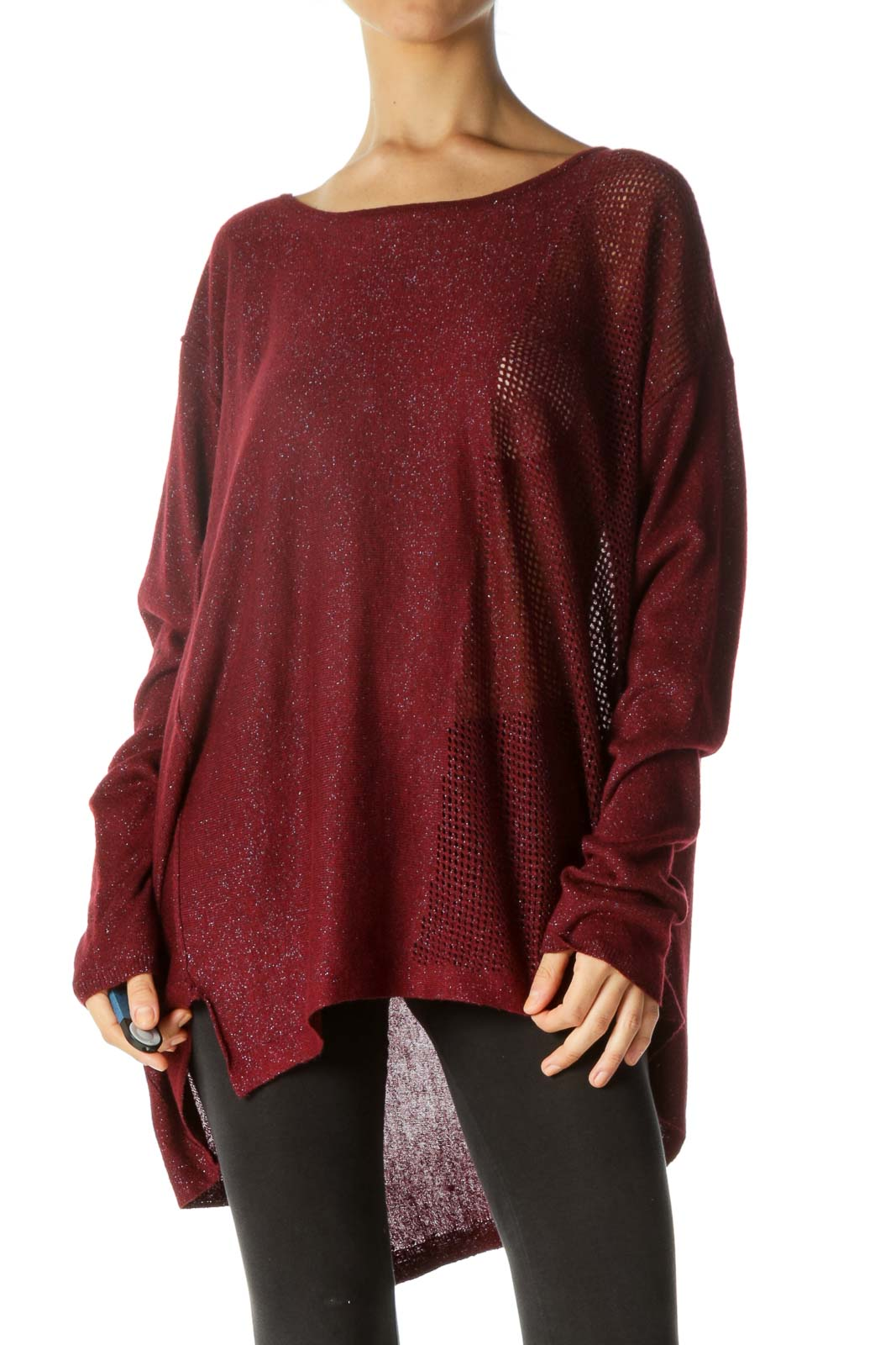 Burgundy Black Silver Round Neck Soft See-Through Knit Top