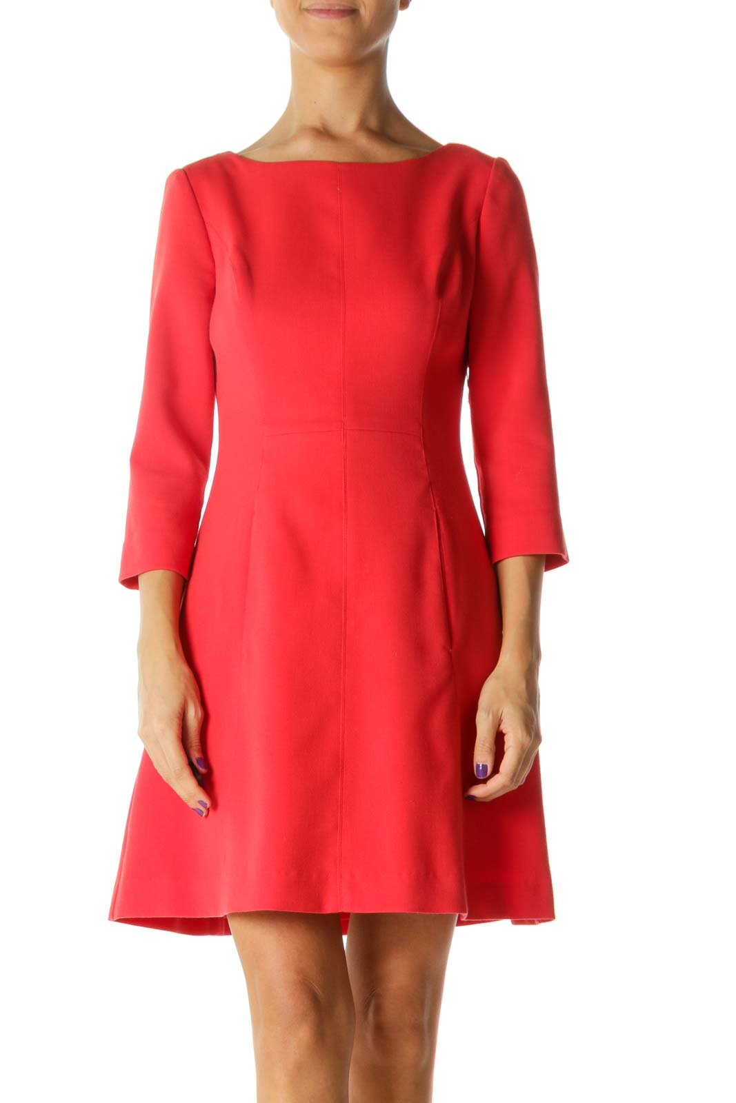 Coral Pink Round Neck Long Sleeve Pocketed Zippered Dress