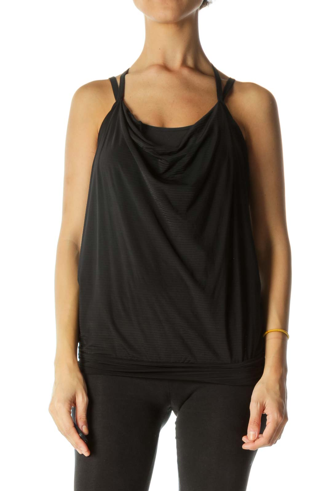 Black Spaghetti Strap Cinched-Waist Sports Tank with Built-in Bra