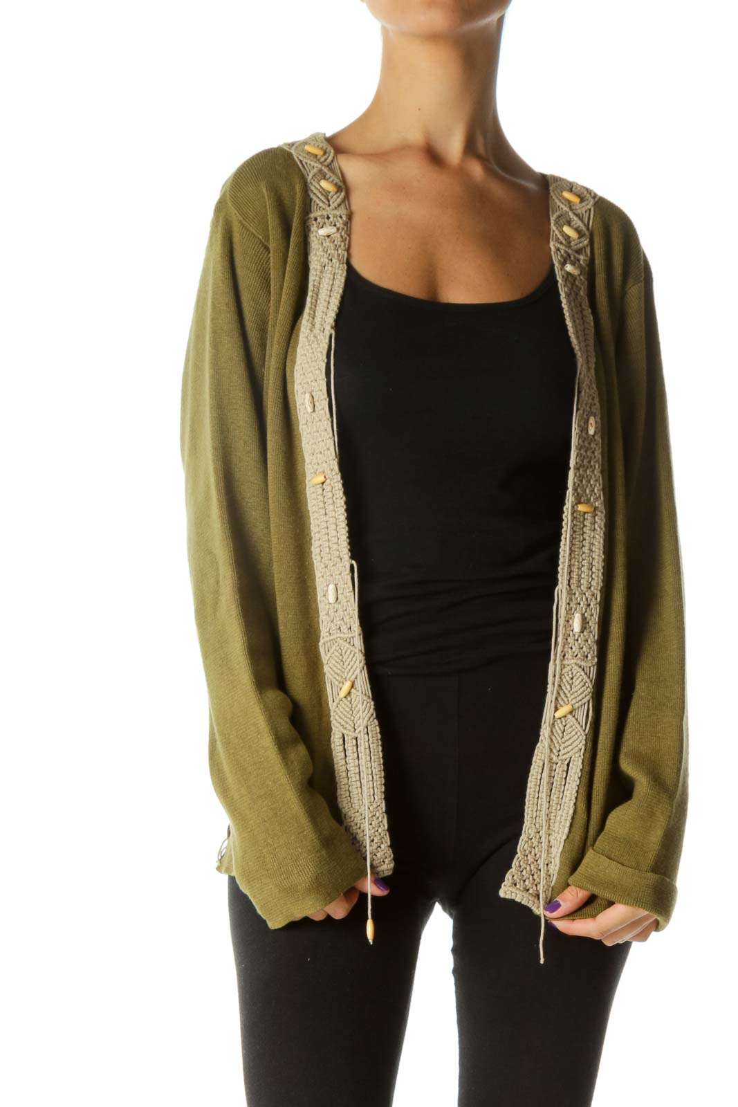 Olive Boho Crocheted Knit Cardigan