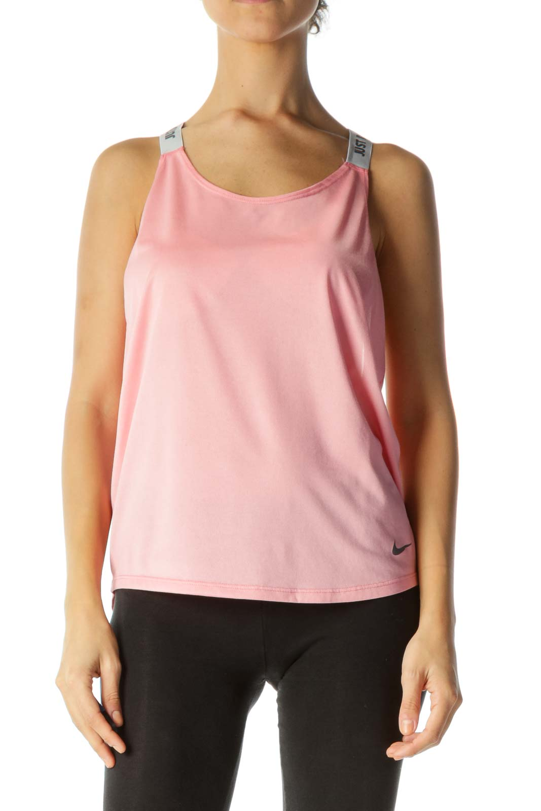 Pink Active-Wear Racer-Back Tank with Gray Logo Straps