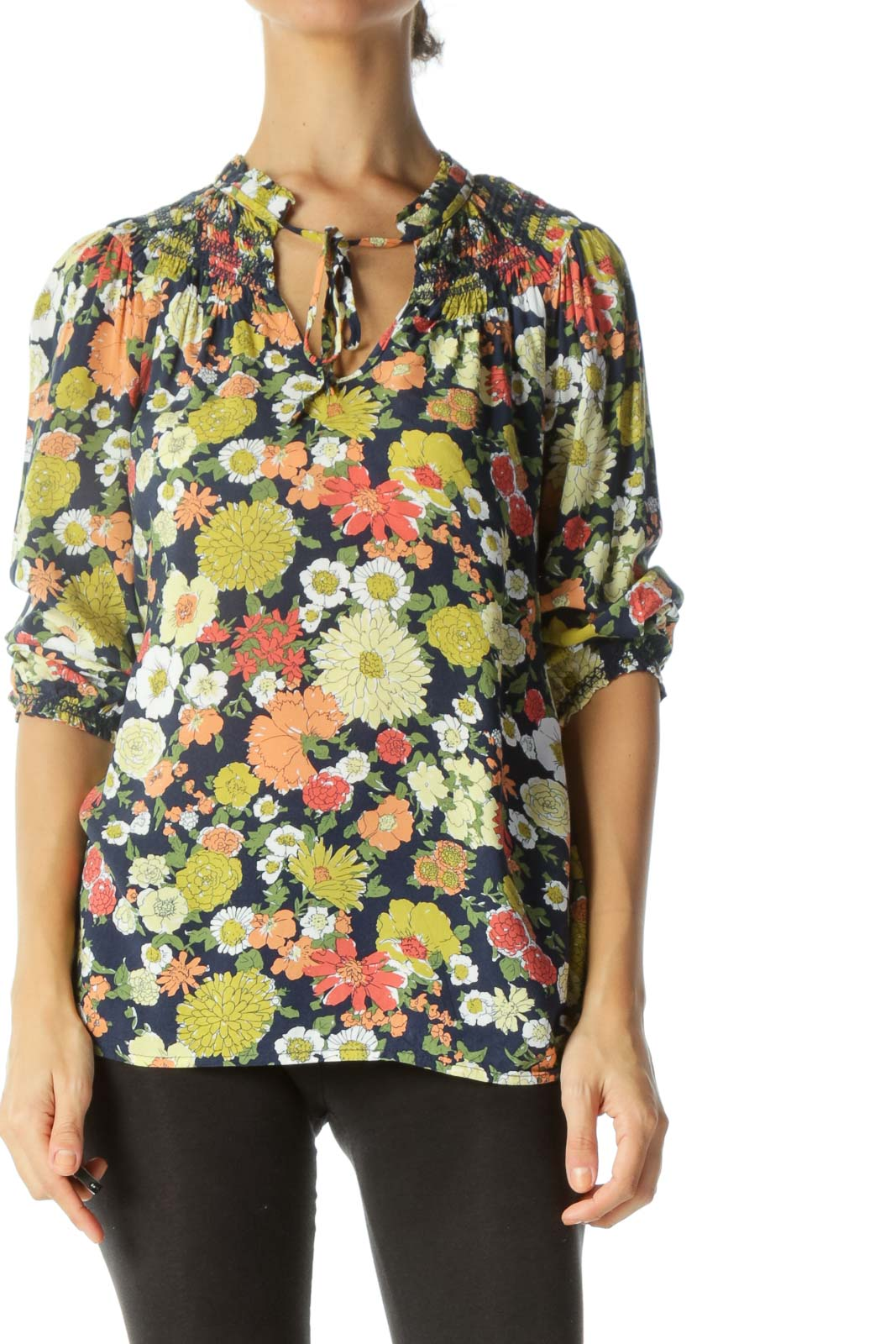 Navy & Multicolored Floral-Print Neck-Tie Shirring 3/4-Sleeve Blouse