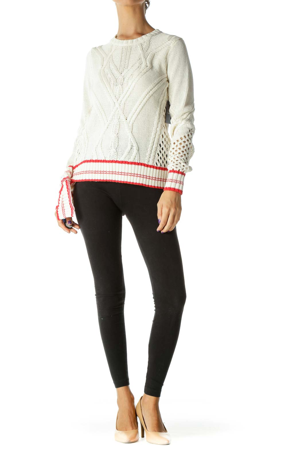 Cream Knit Sweater with Red Trim
